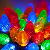 "25 C7 Multi Color LED Christmas Lights, 8"" Spacing"