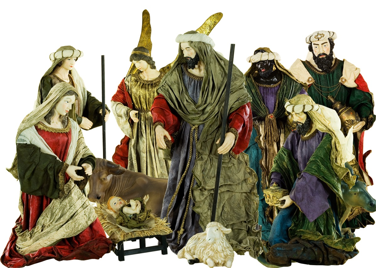 Large Fabric Polyresin Nativity Set