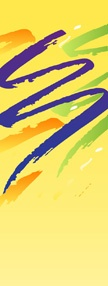 Colorful swishes on yellow background