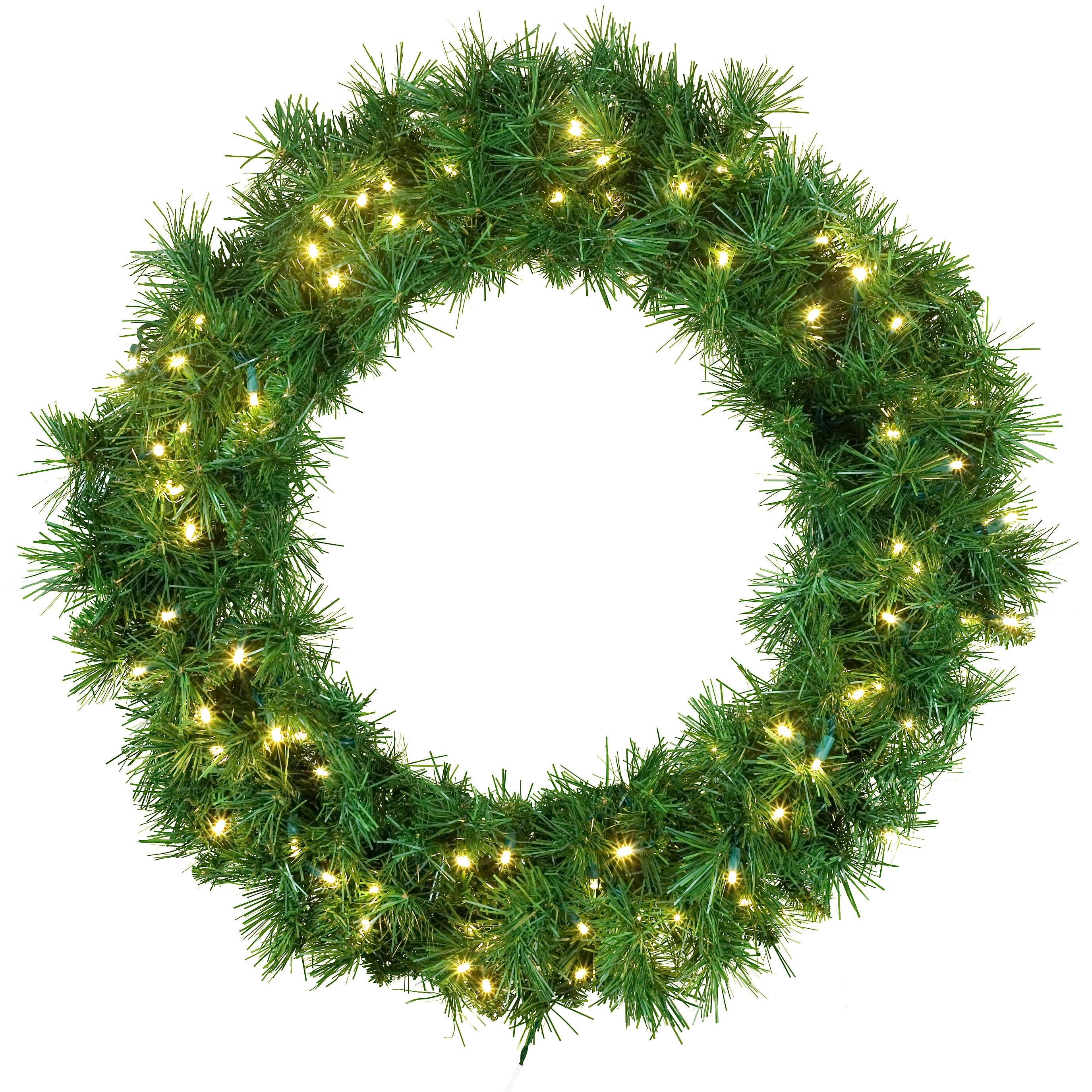 Artificial Christmas Wreaths - Dunhill Fir Prelit LED ...