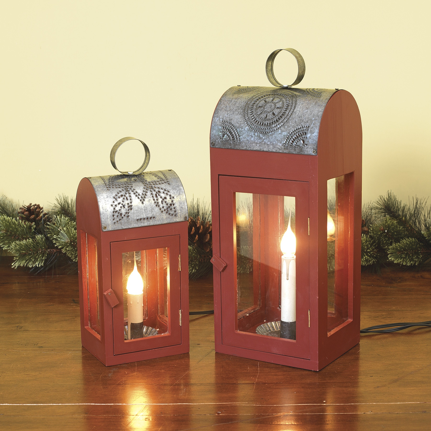 Candle In Electric Wood Lantern