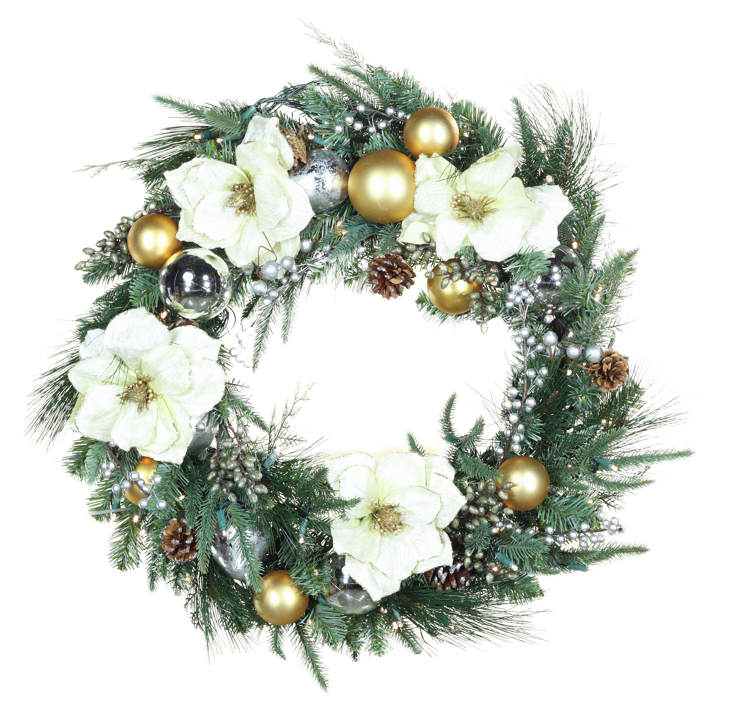 Decorative Wreaths - Aspen Silver Battery Operated LED Wreath, Warm ...