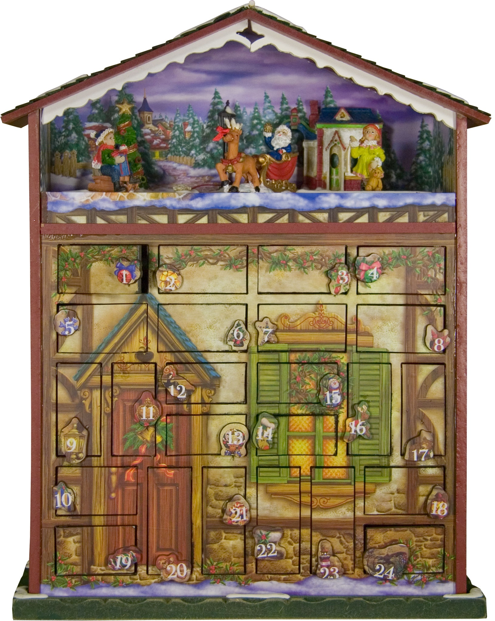 24 Days of Christmas Wooden Musical House