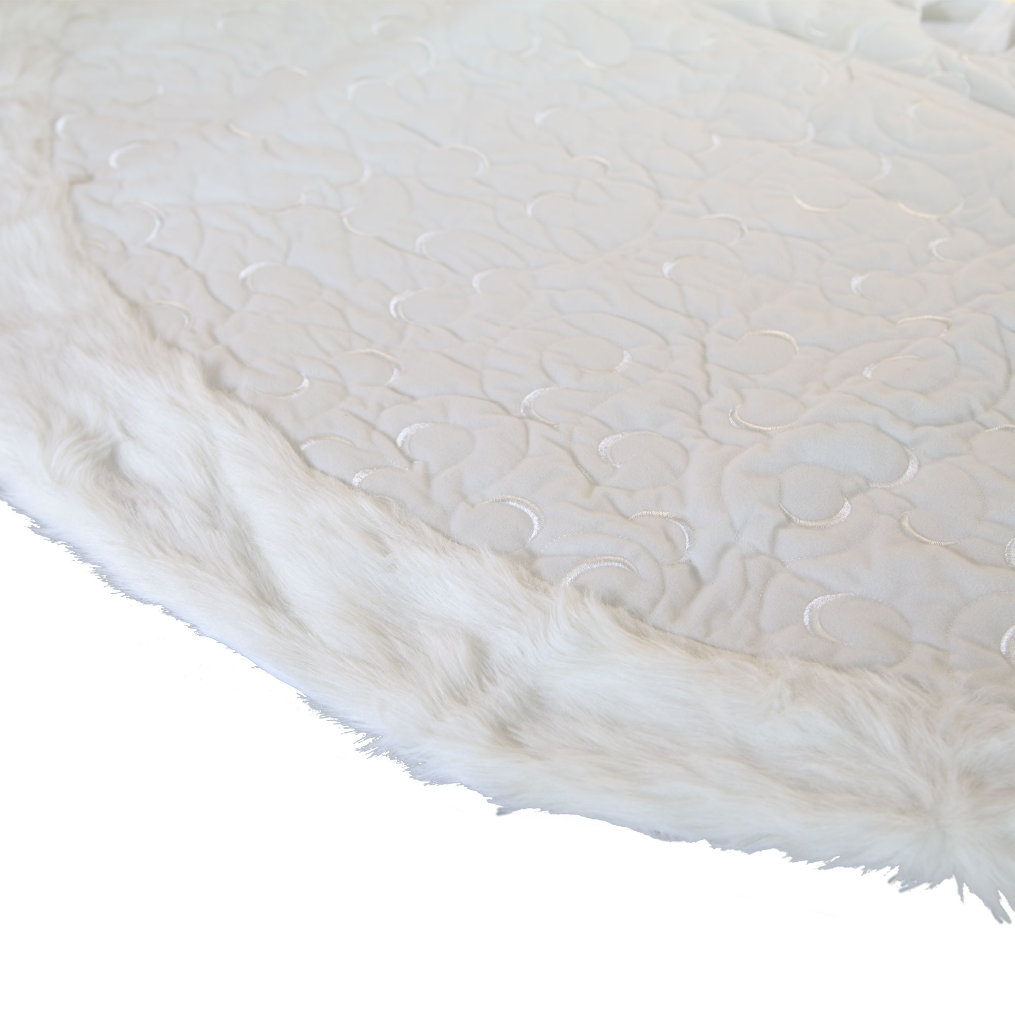 White Velvet Fur Trim Tree Skirt
