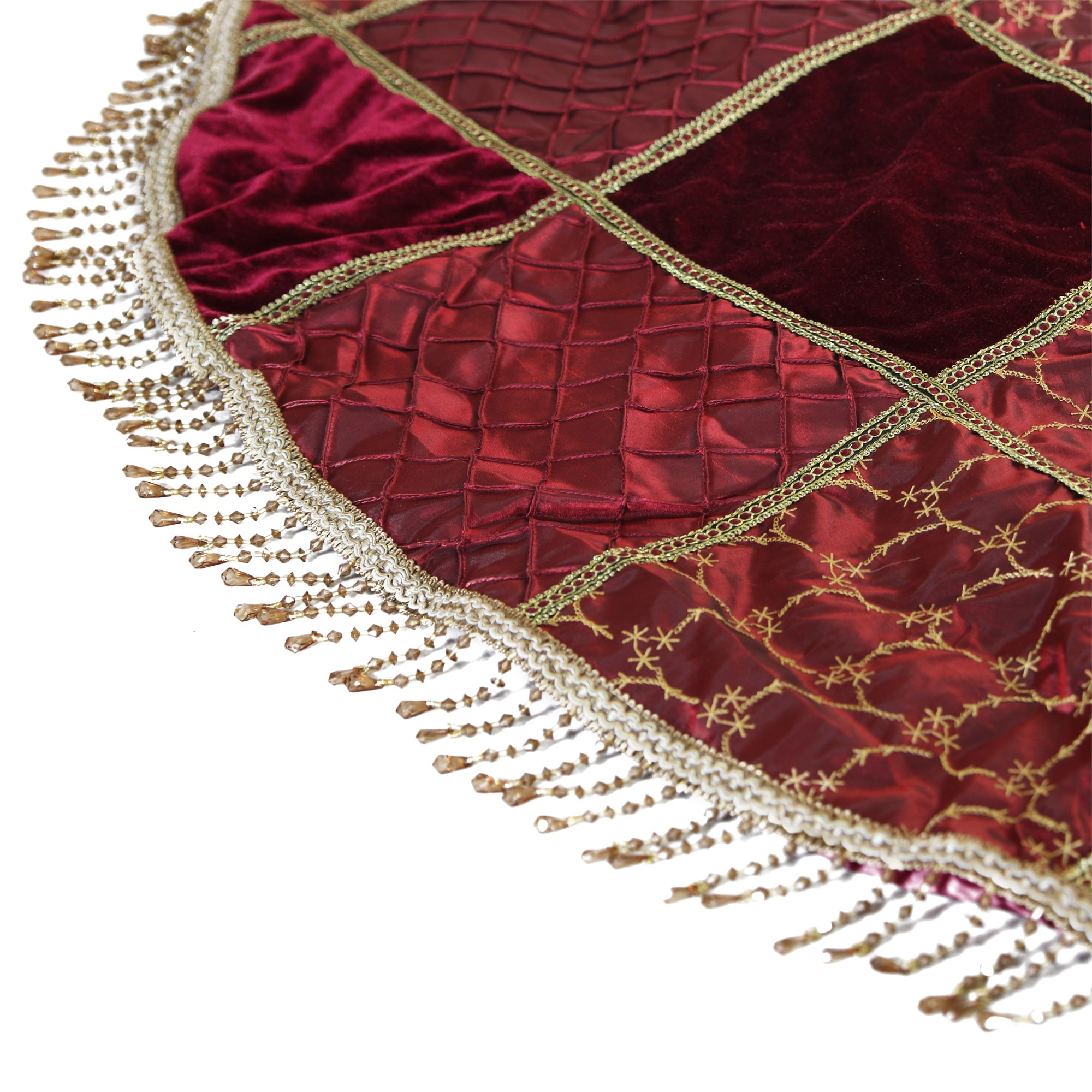 Burgundy Checked Tree Skirt