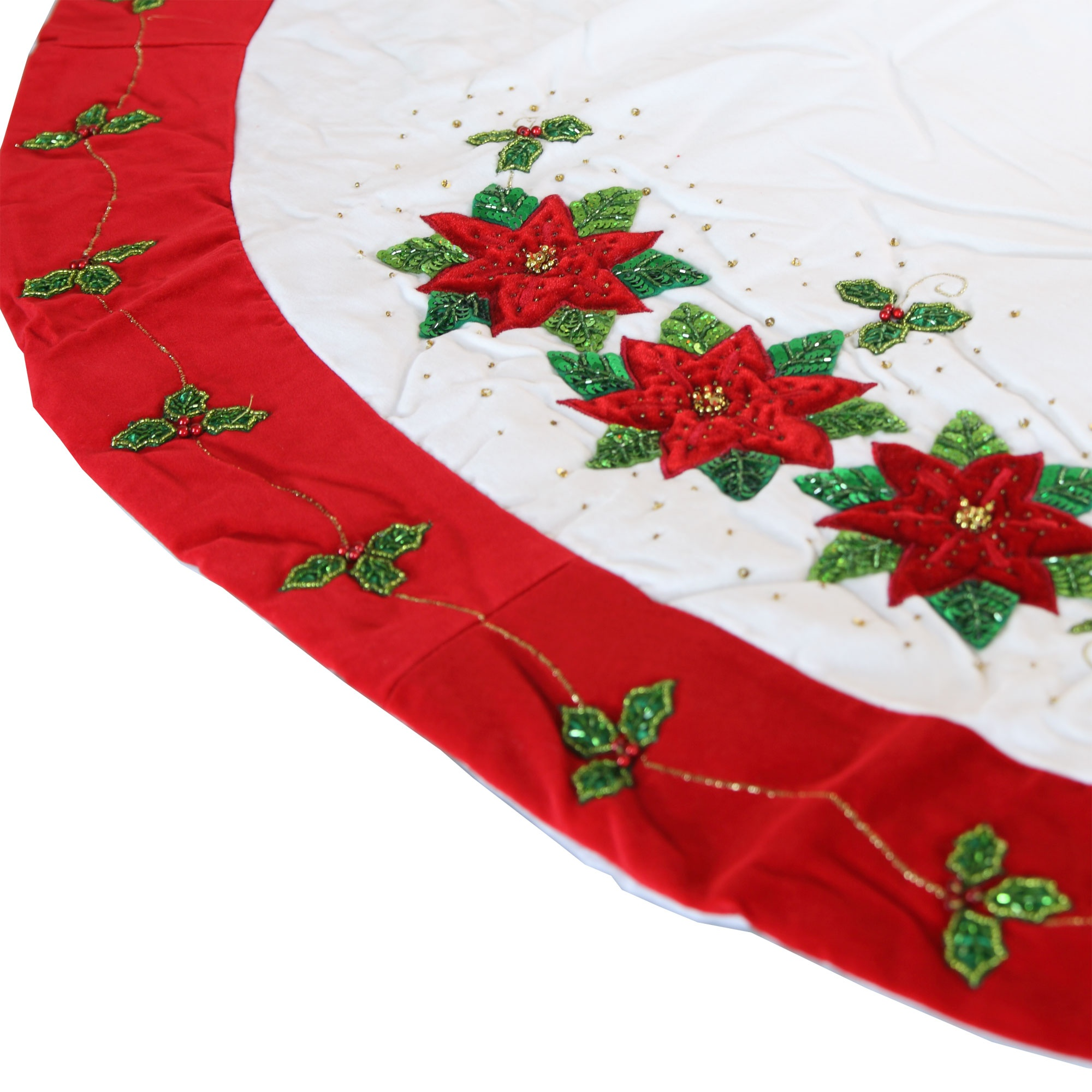 White Tree Skirt with Red Poinsettia Design