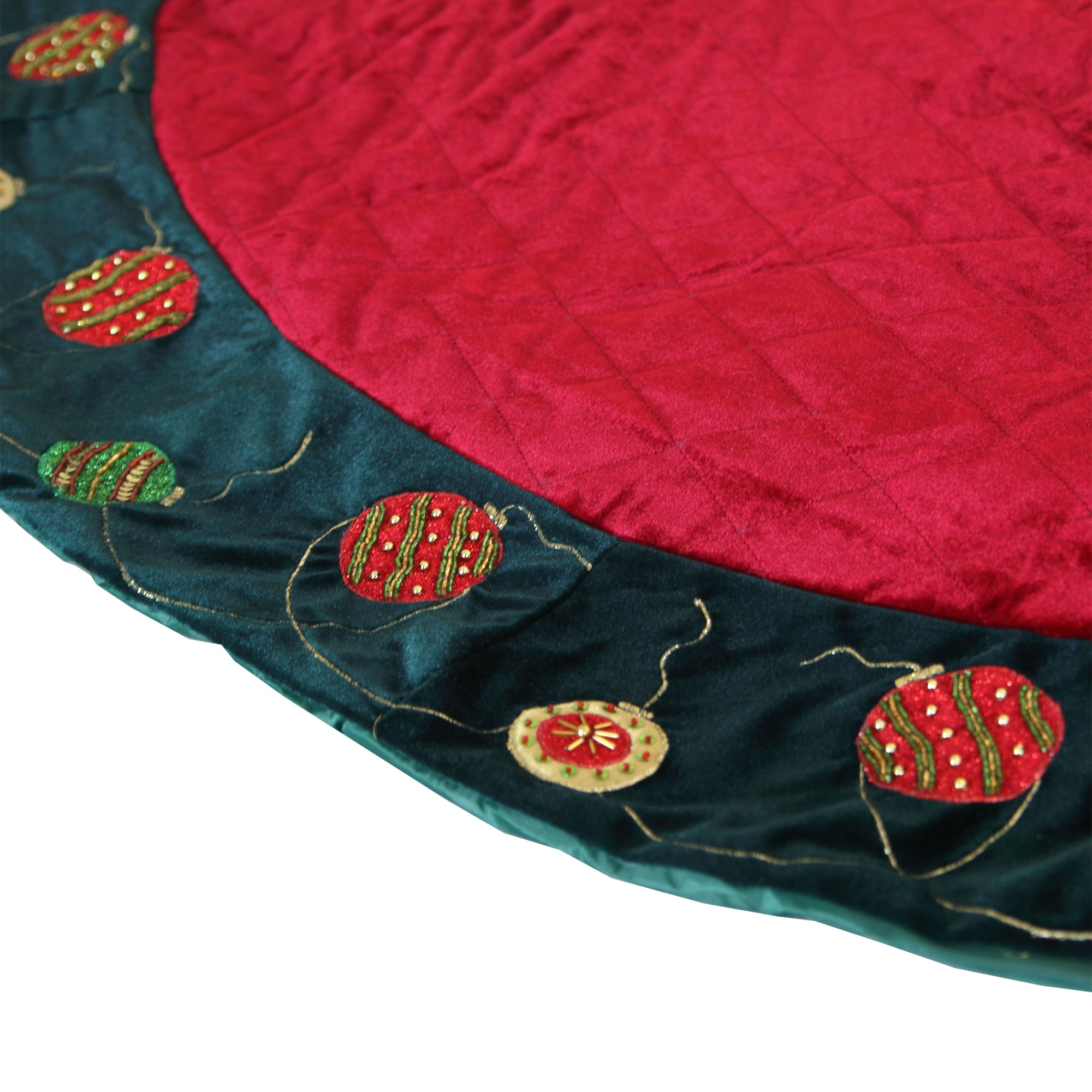 Quilted Red Tree Skirt Black Trim