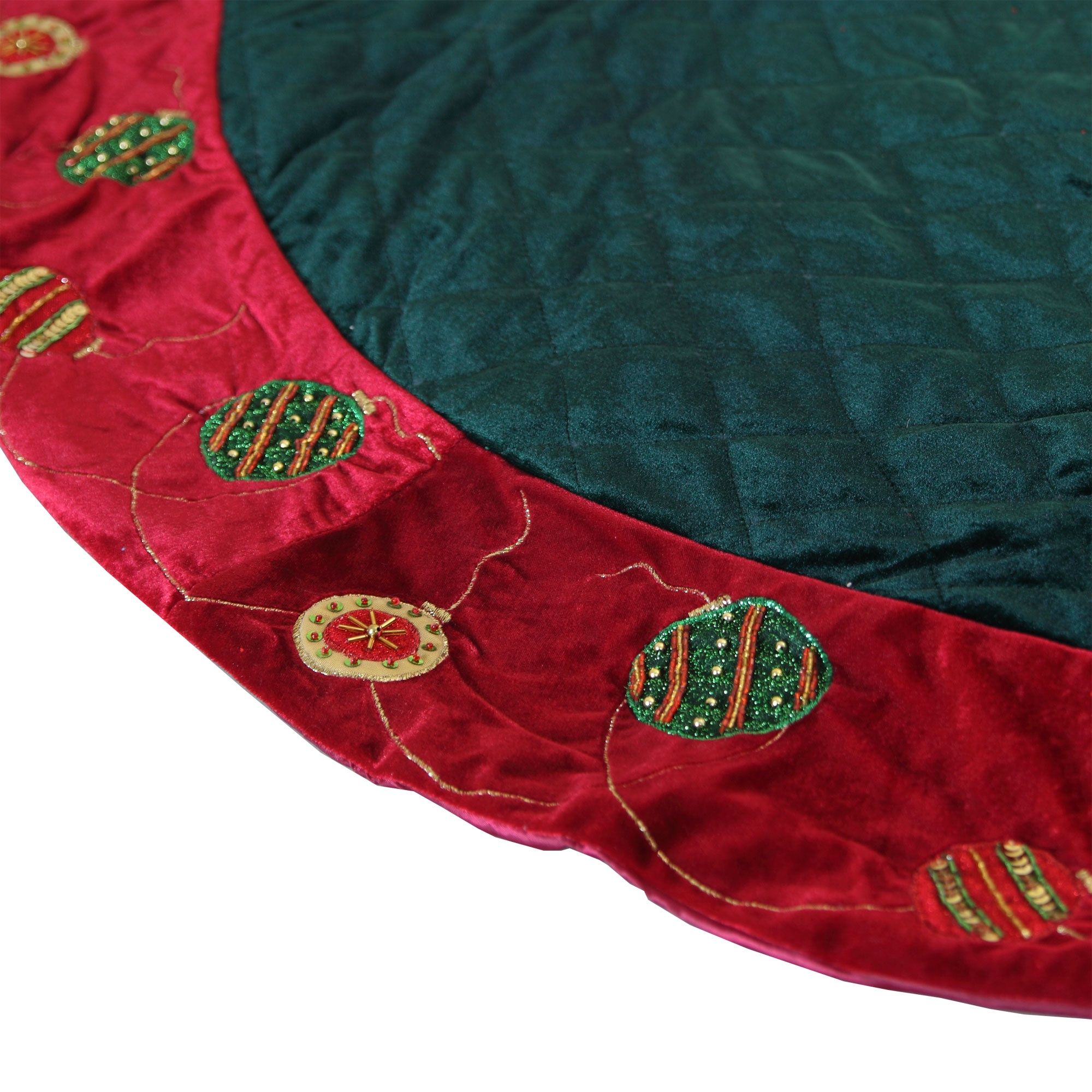 Quilted Green Tree Skirt with Red Trim
