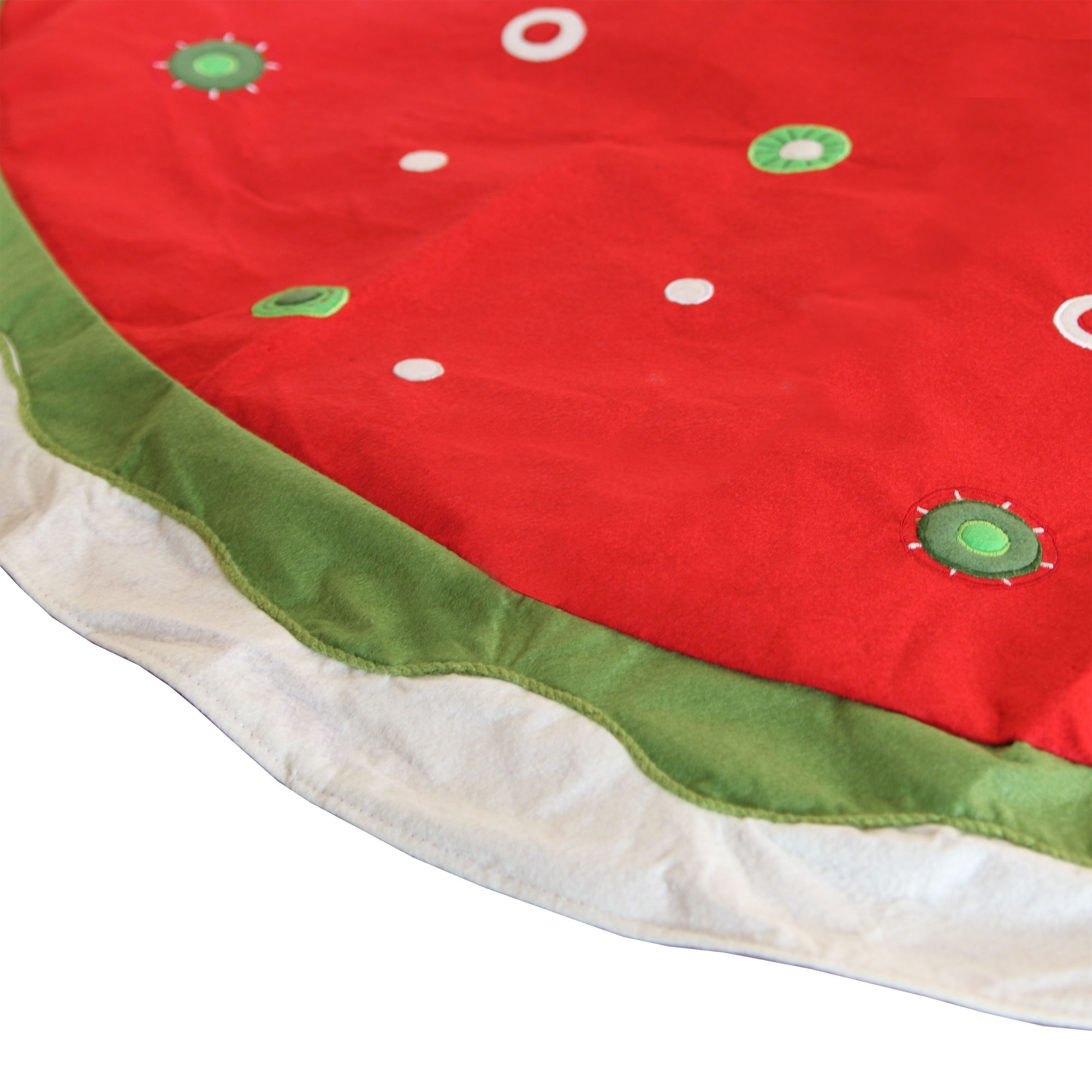 Velvet Red Tree Skirt with Circles