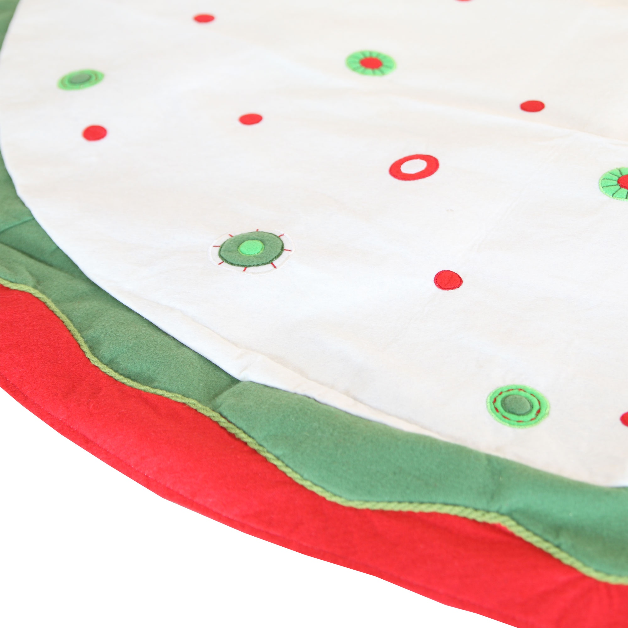 White Velvet Tree Skirt with Red and Green Circles