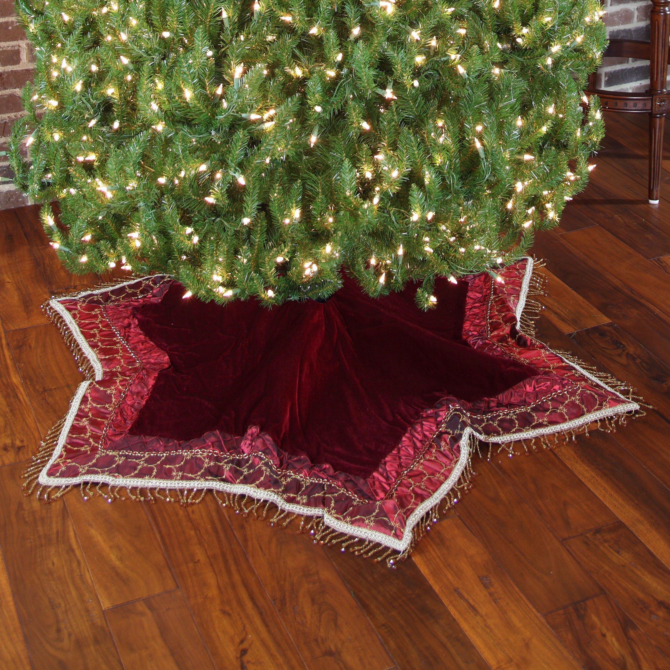Burgundy Tassle Christmas Tree Skirt