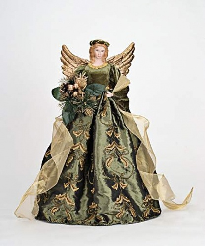 Green and Gold Angel Tree Topper