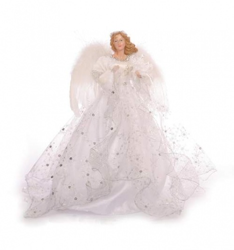 Angel Silver Dress Tree Topper