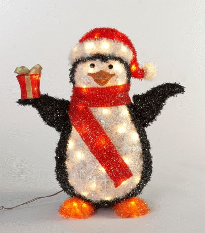 Black Lighted Penguin Outdoor Decoration