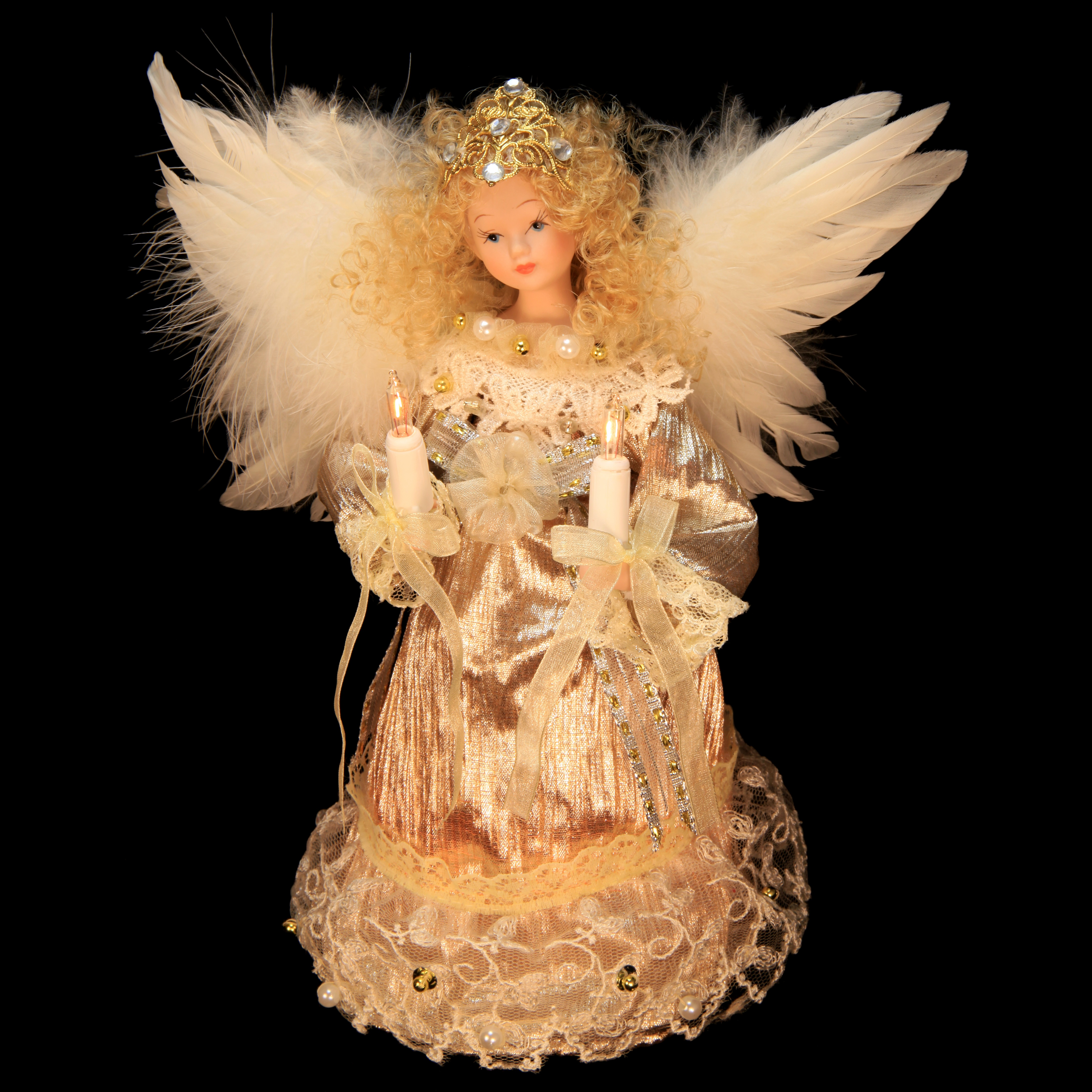 Lit Angel Tree Topper Platinum Dress