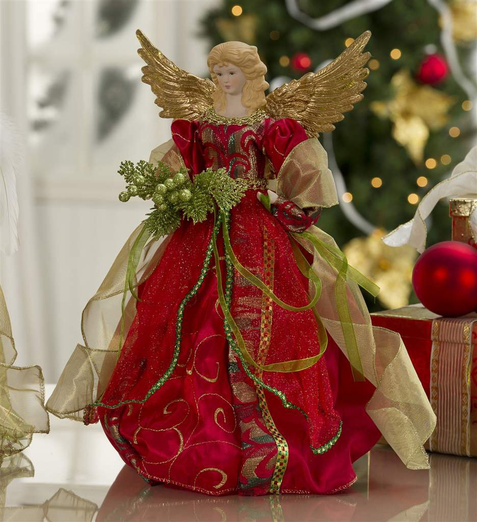 Christmas Decorations   16 Christmas Angel Tree Topper in Burgundy nHnNBeTf