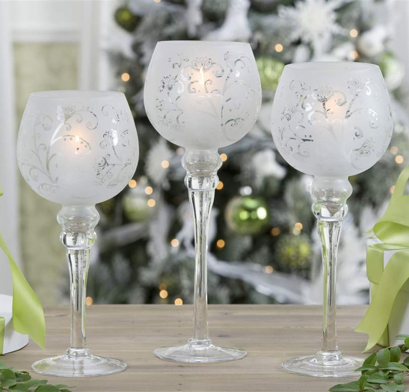 Christmas candle holders frosted white glass hurricane candle