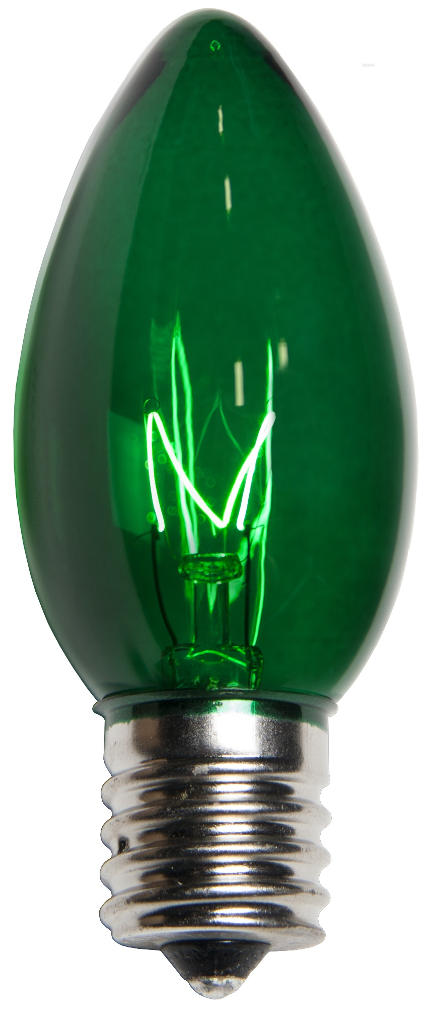 C9 Green Transparent Incandescent Bulb