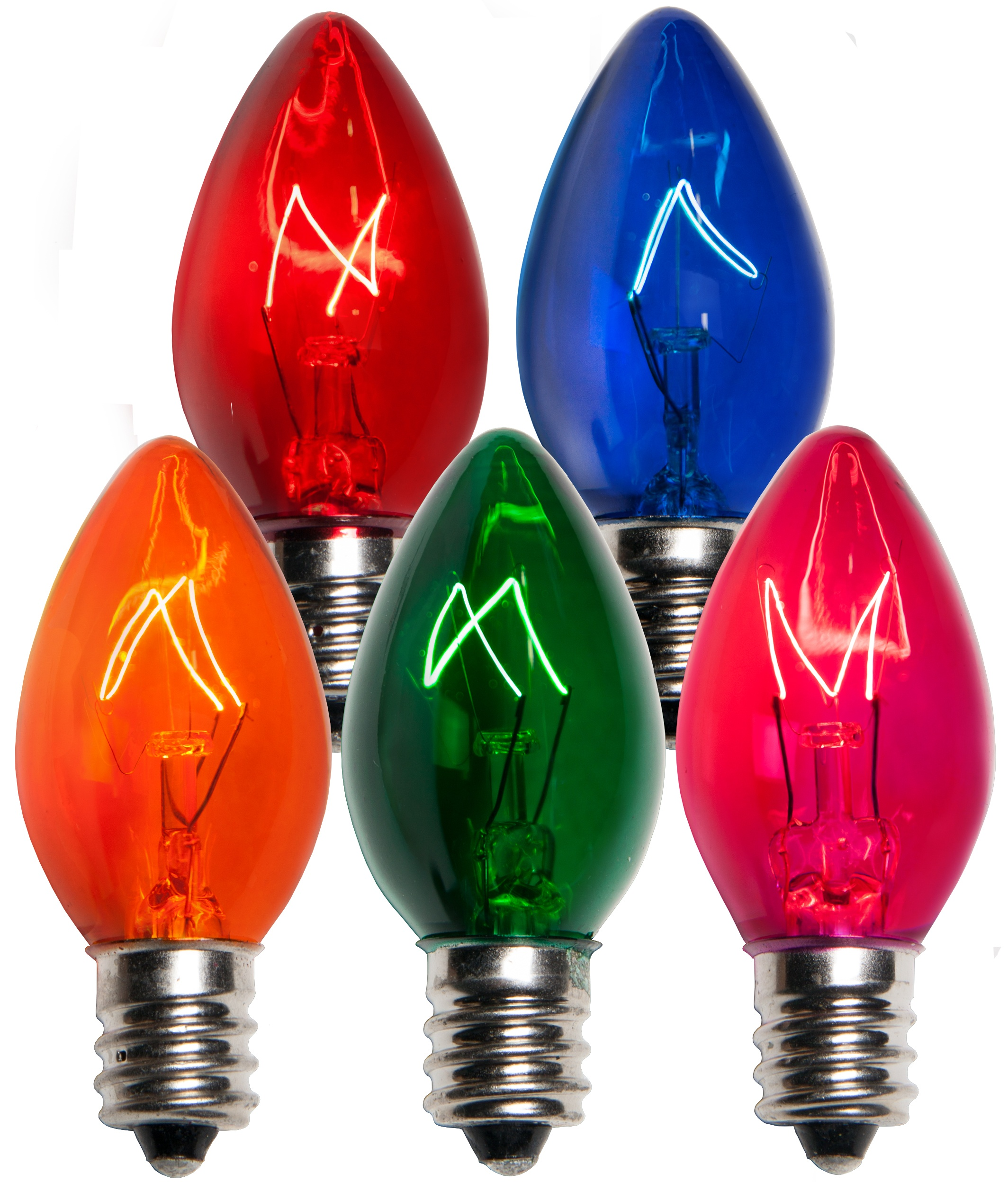 C7 Multicolor Transparent Incandescent Bulbs