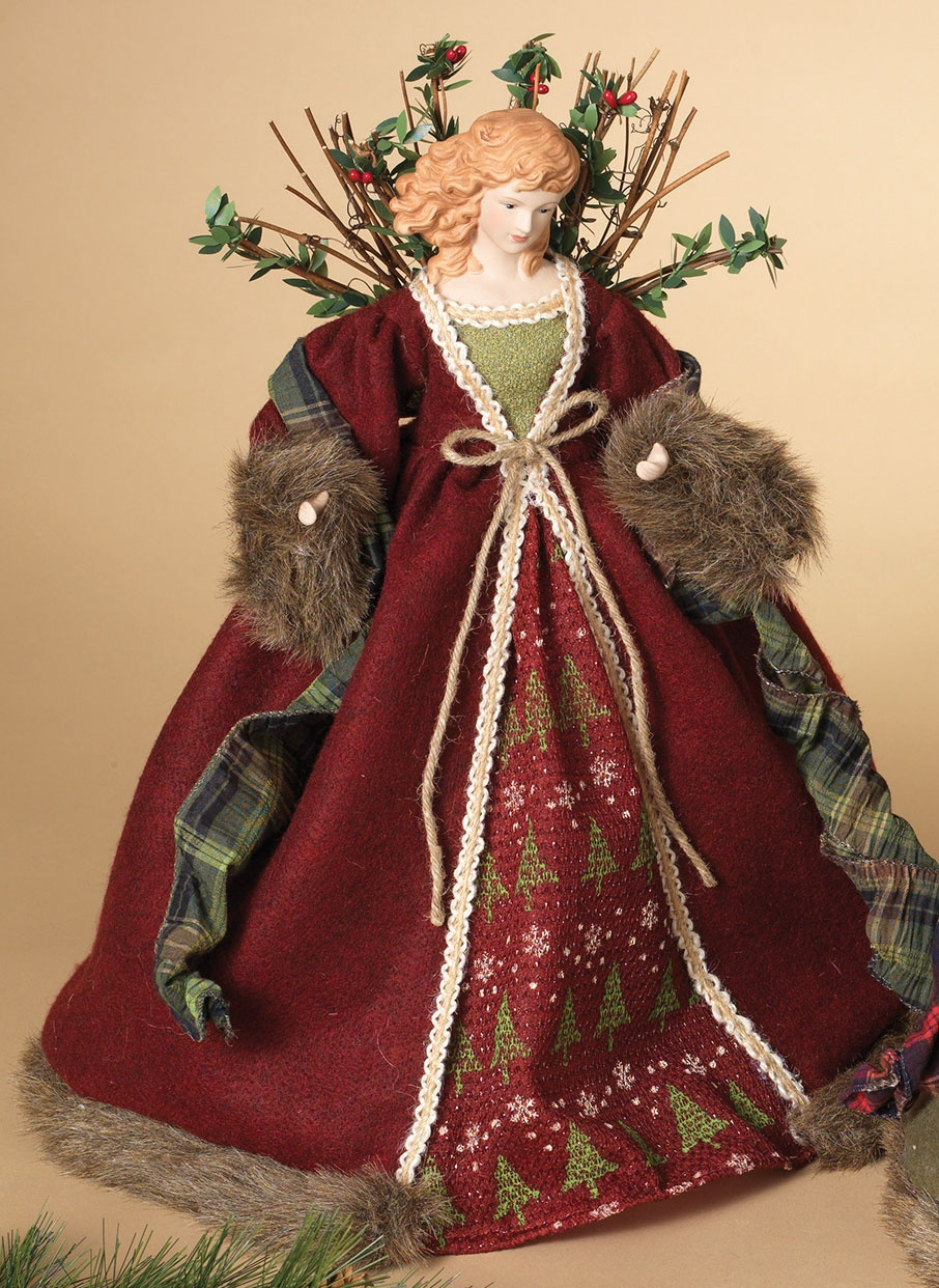 Red Woodland Angel Tree Topper