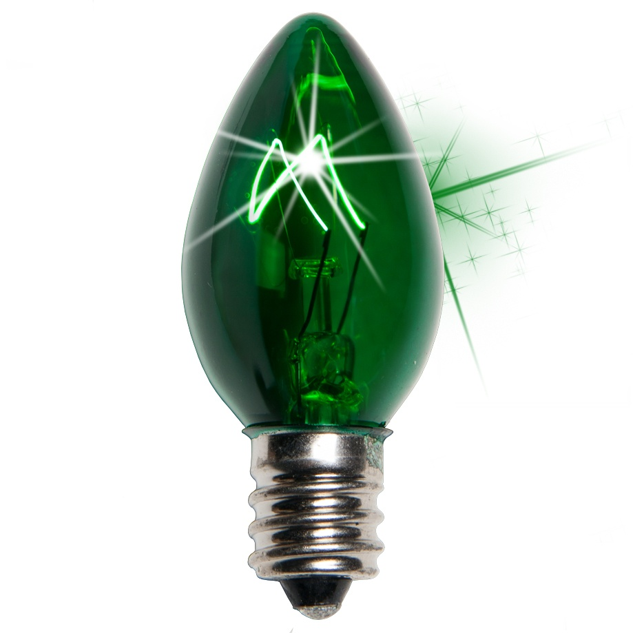 C7 Green Twinkle Incandescent Bulb