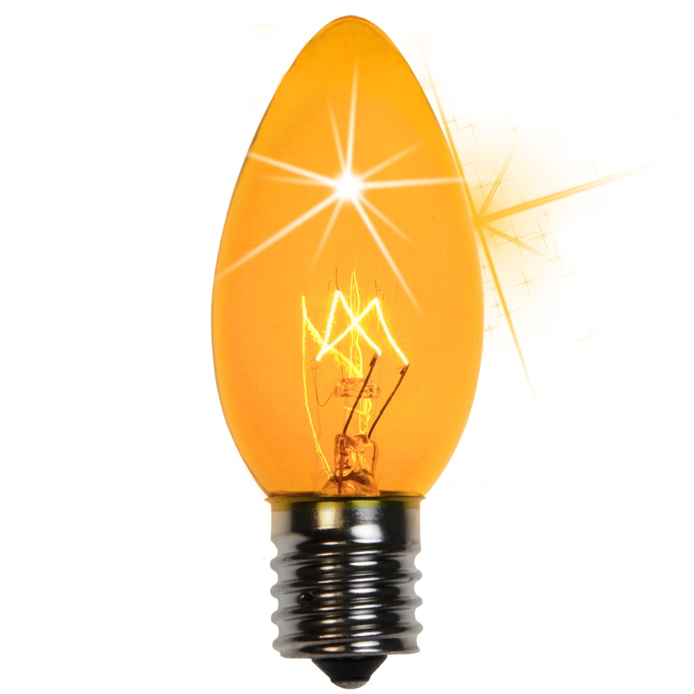 C9 Yellow Transparent Incandescent Twinkle Bulb
