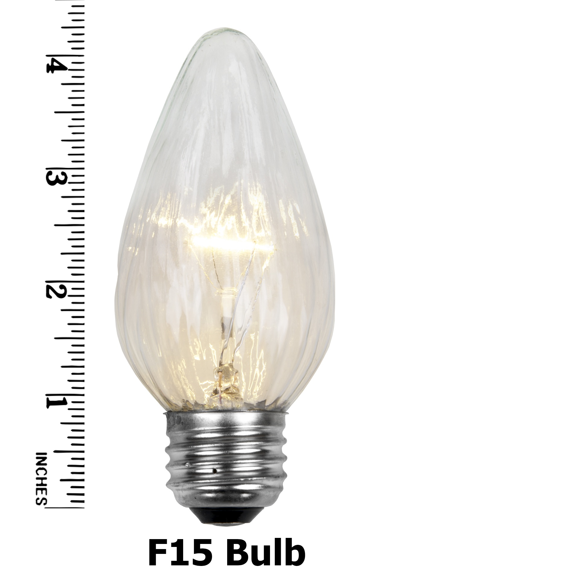 F15 Transparent Clear Flame Replacement Bulb E26 Base Measurements