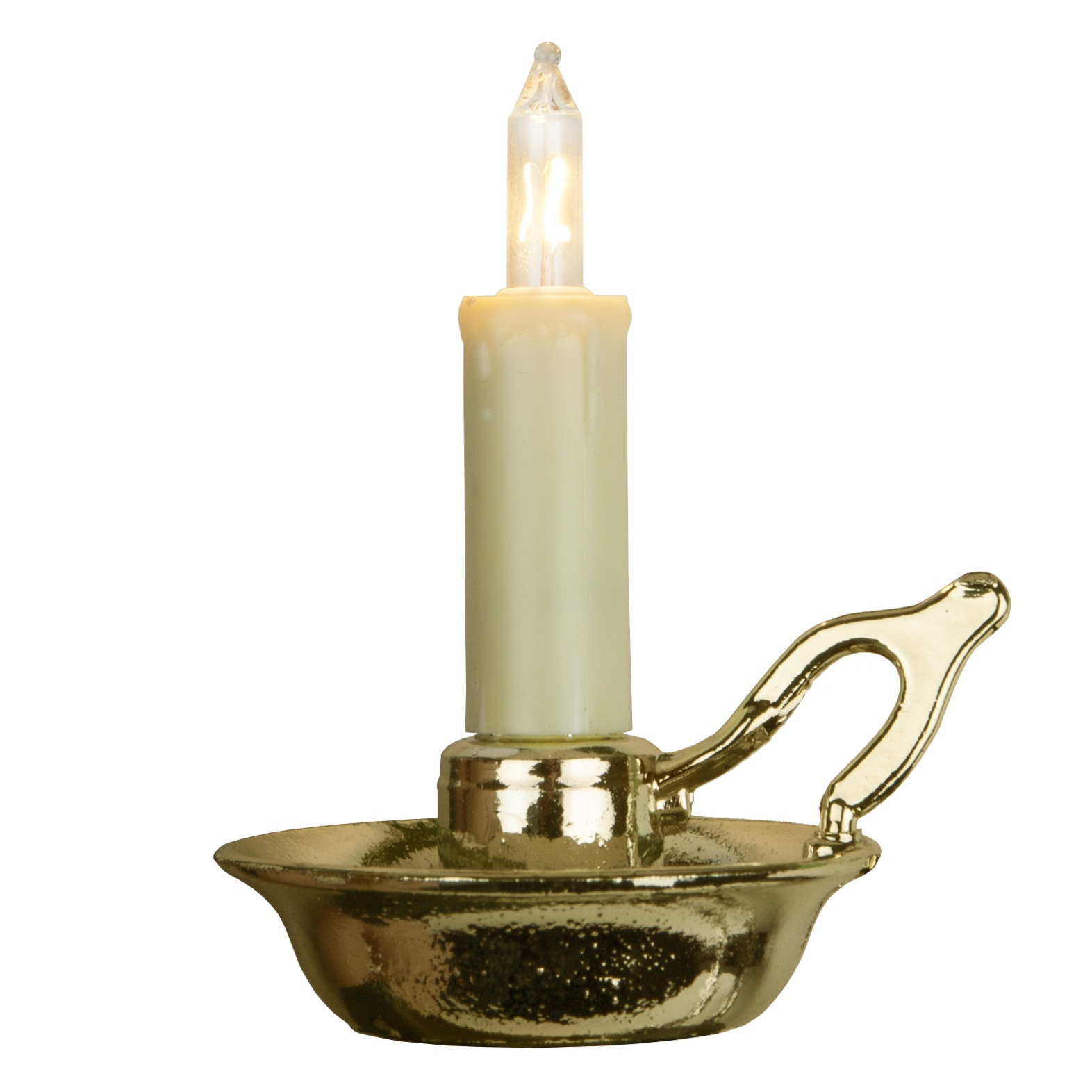Ivory Candle Bulb with Gold Dish