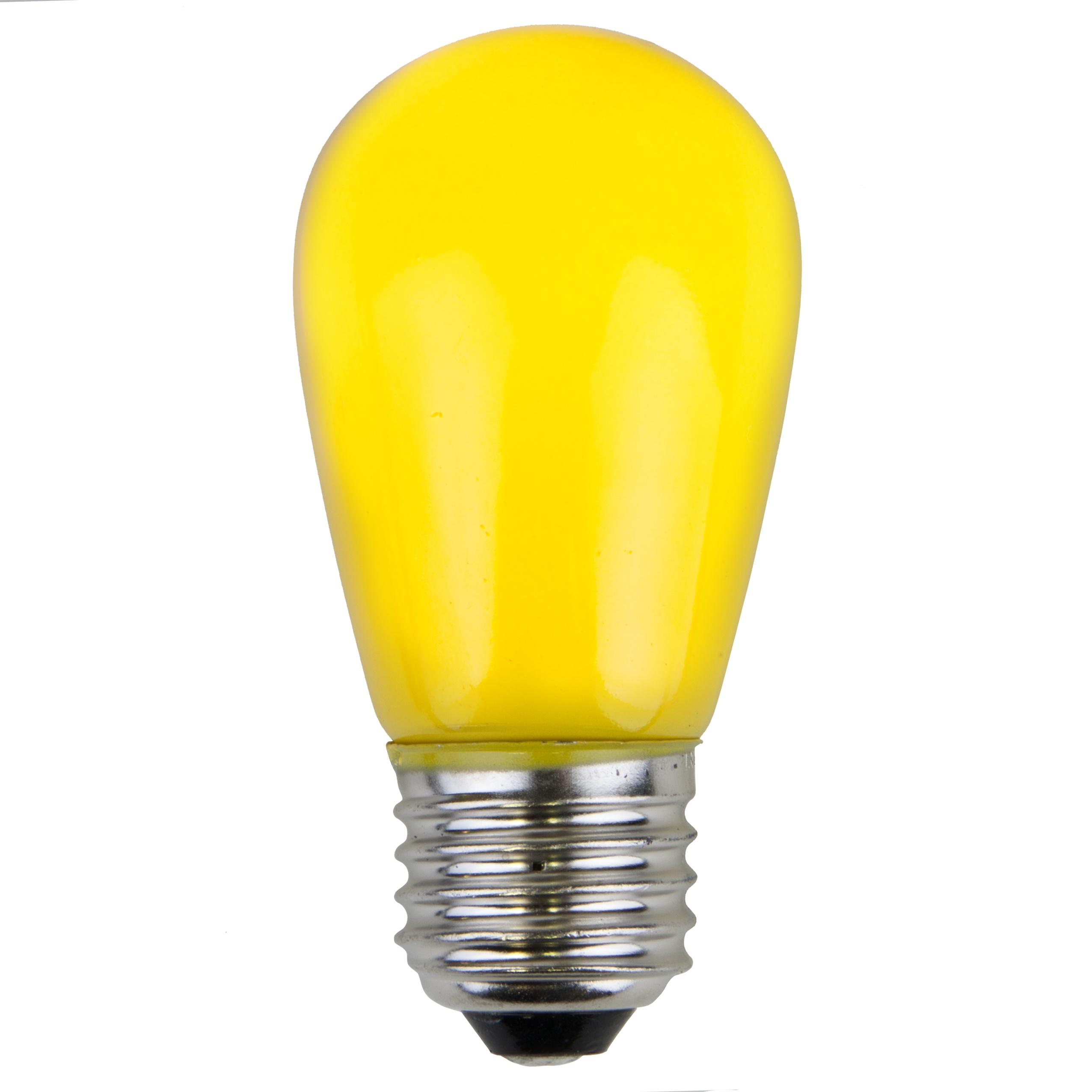 Christmas Lights S14 Opaque Yellow 11 Watt Replacement Bulbs
