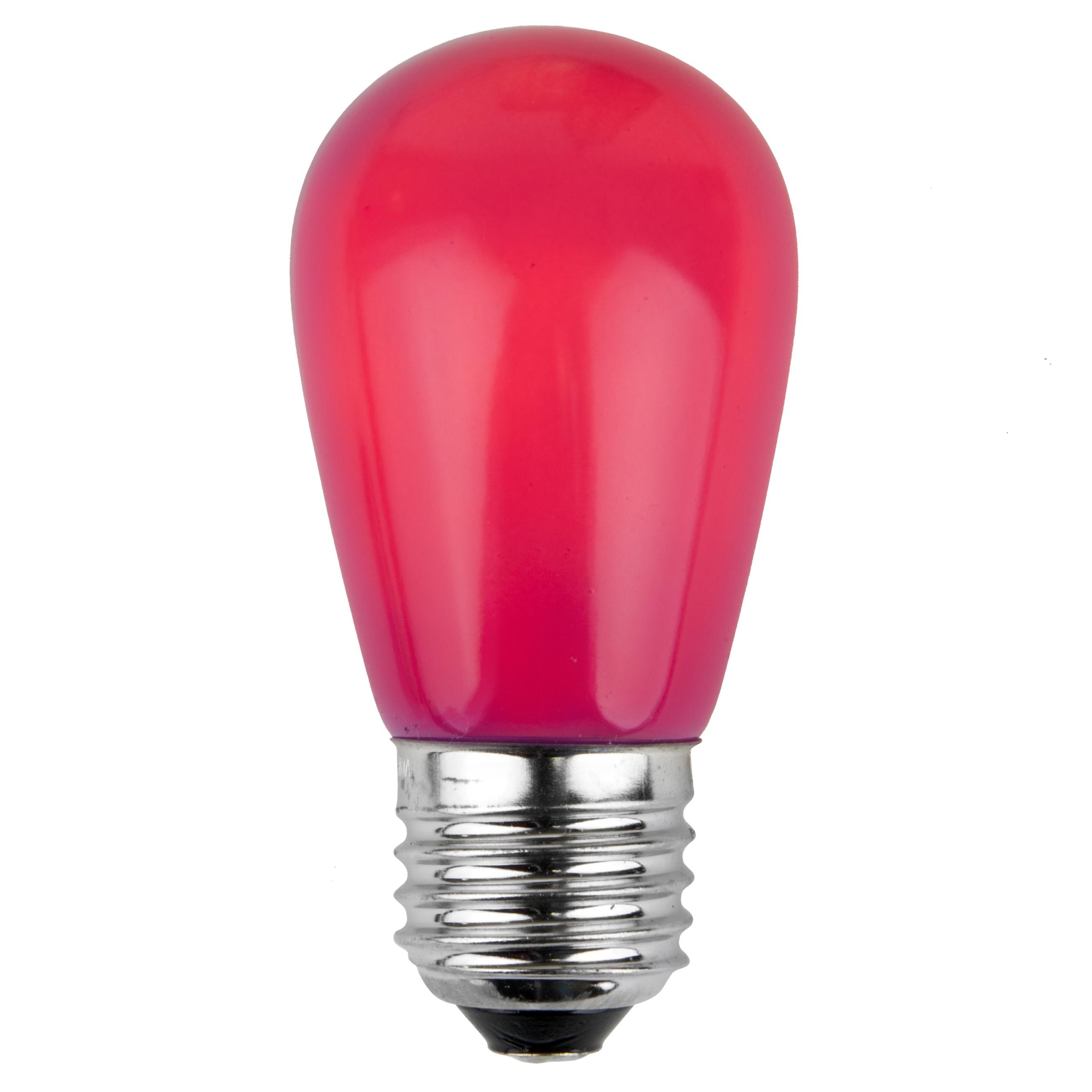 Christmas Lights S14 Opaque Pink 11 Watt Replacement Bulbs