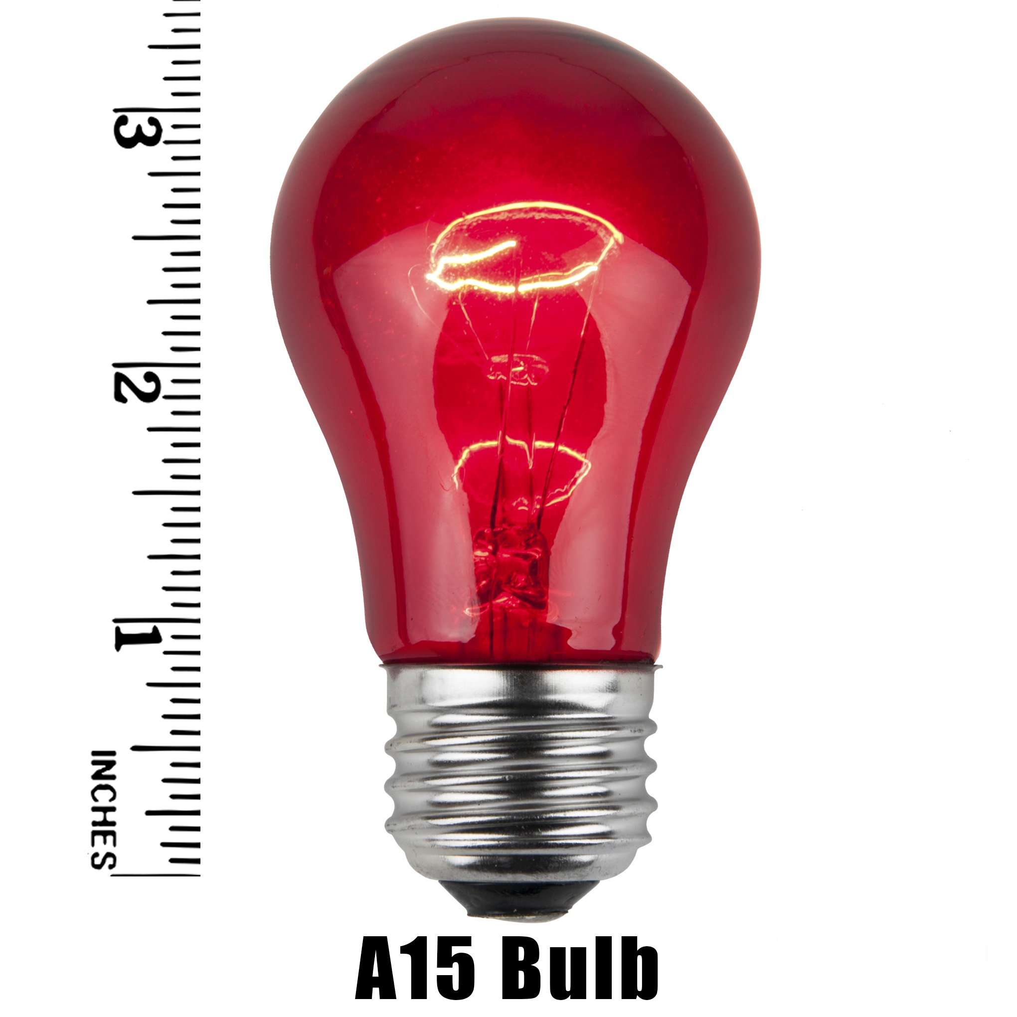 A15 Multicolored Transparent Incandescent Incandescent Bulb Measurement