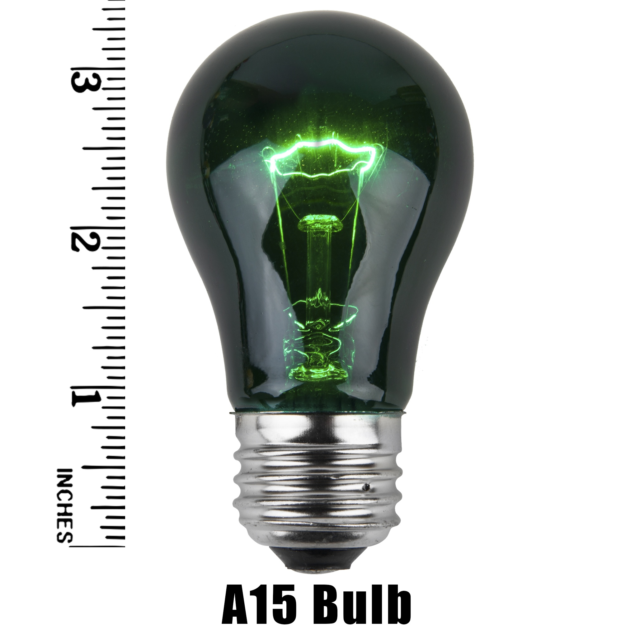 A15 Green Transparent Incandescent Incandescent Bulb Meaurement