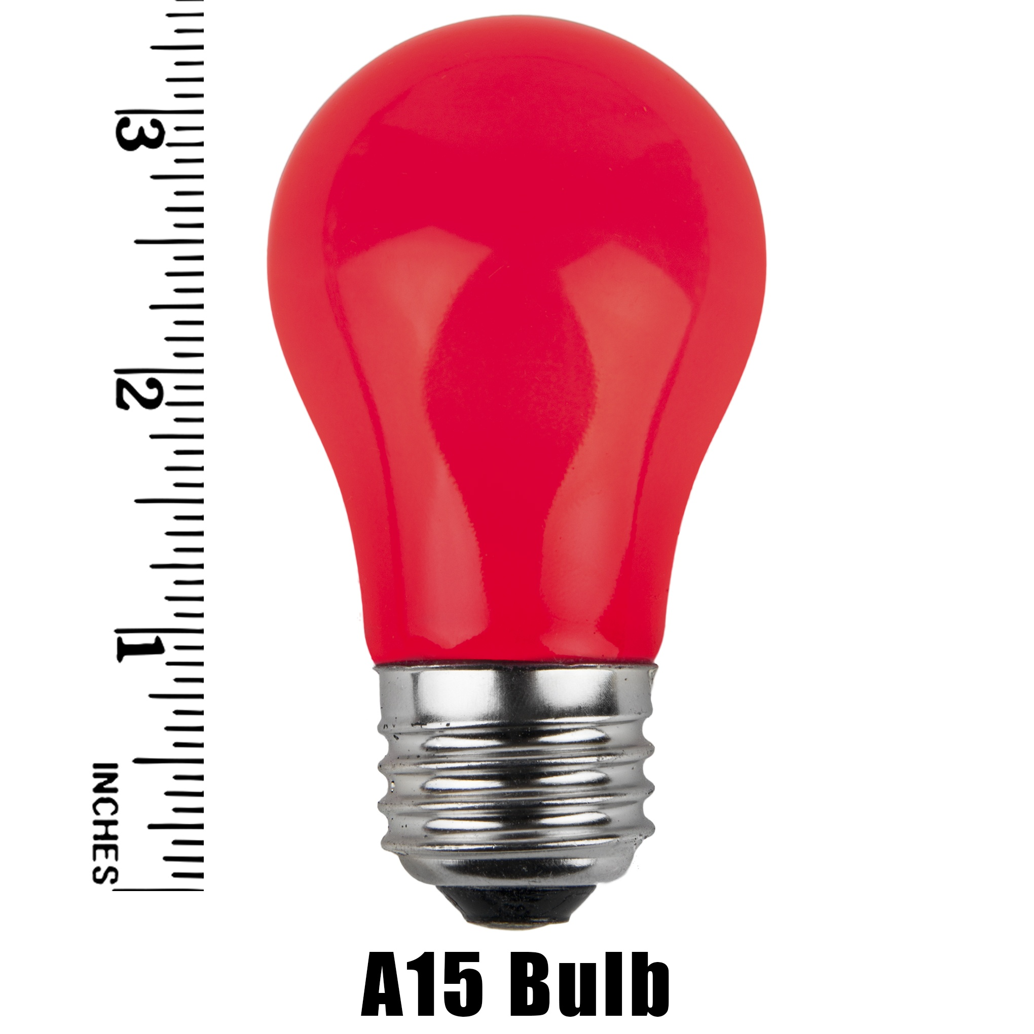 A15 Red Opaque Incandescent Bulb Measurement