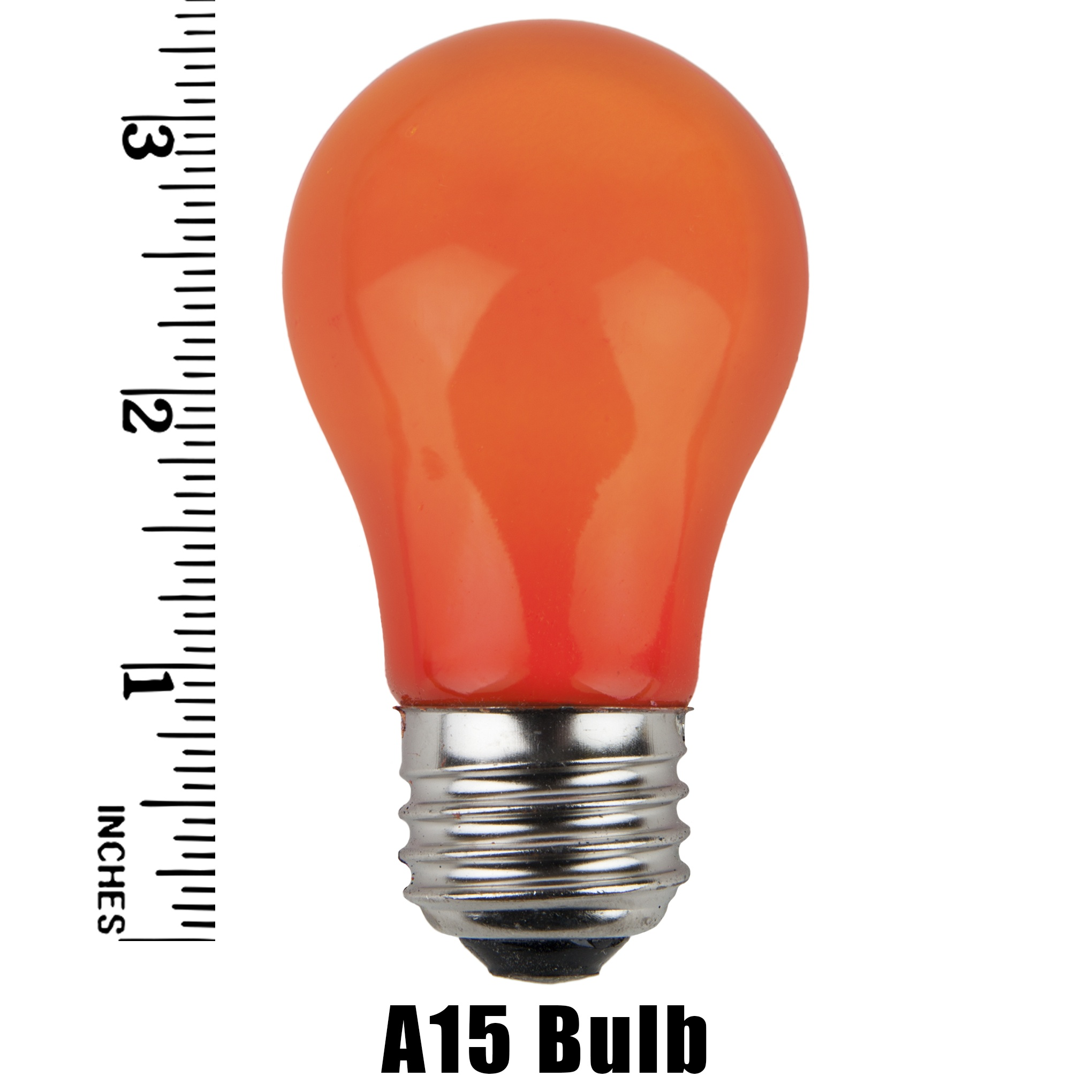 A15 Amber Opaque Incandescent Bulb Measurement
