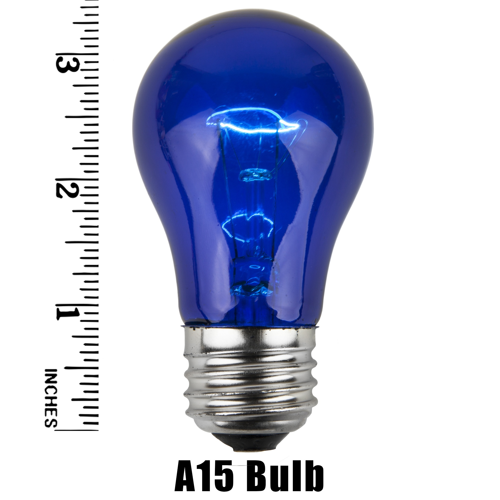 A15 Blue Transparent Incandescent Bulb Measurement