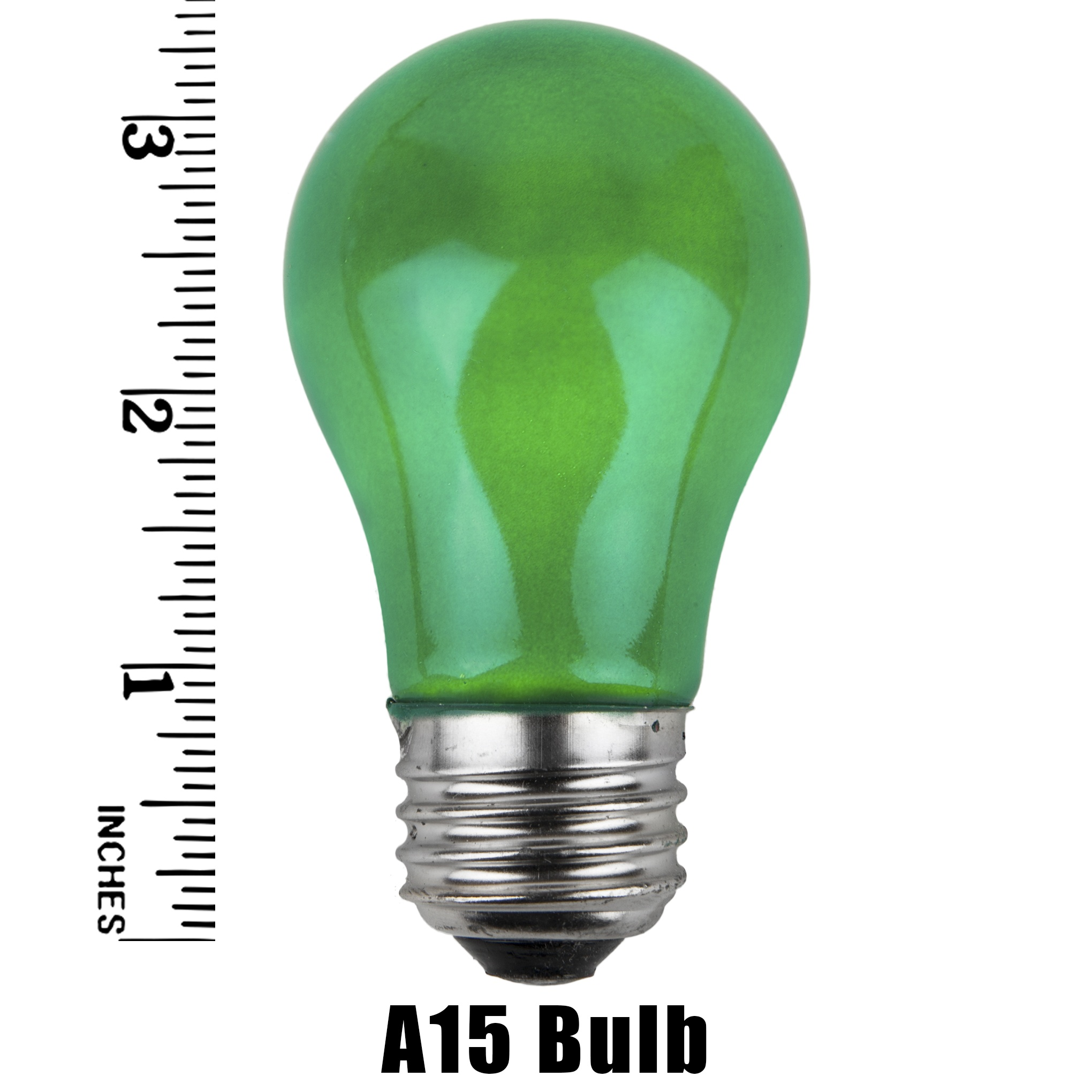 A15 Green Opaque Incandescent Bulb Measurement