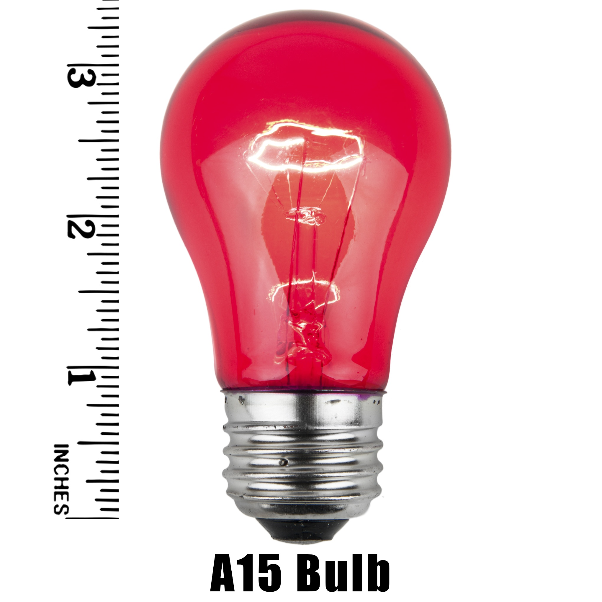 A15 Pink Transparent Incandescent Bulb Measurement