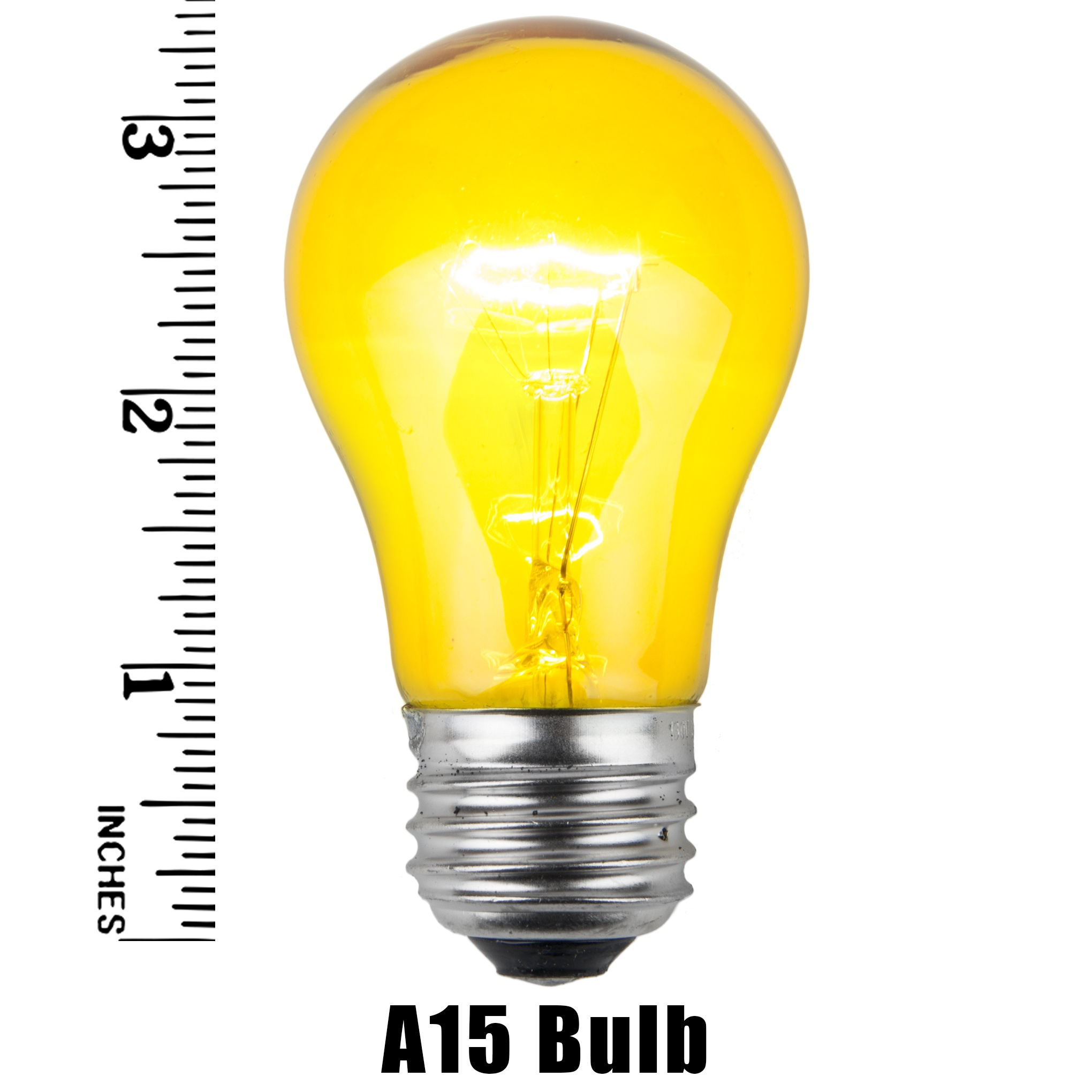 A15 Yellow Transparent Incandescent Bulb Measurement