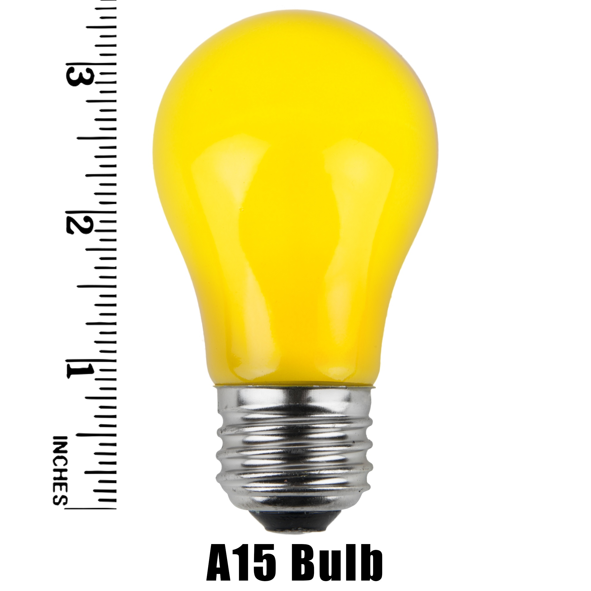 A15 Yellow Opaque Incandescent Bulb Measurement