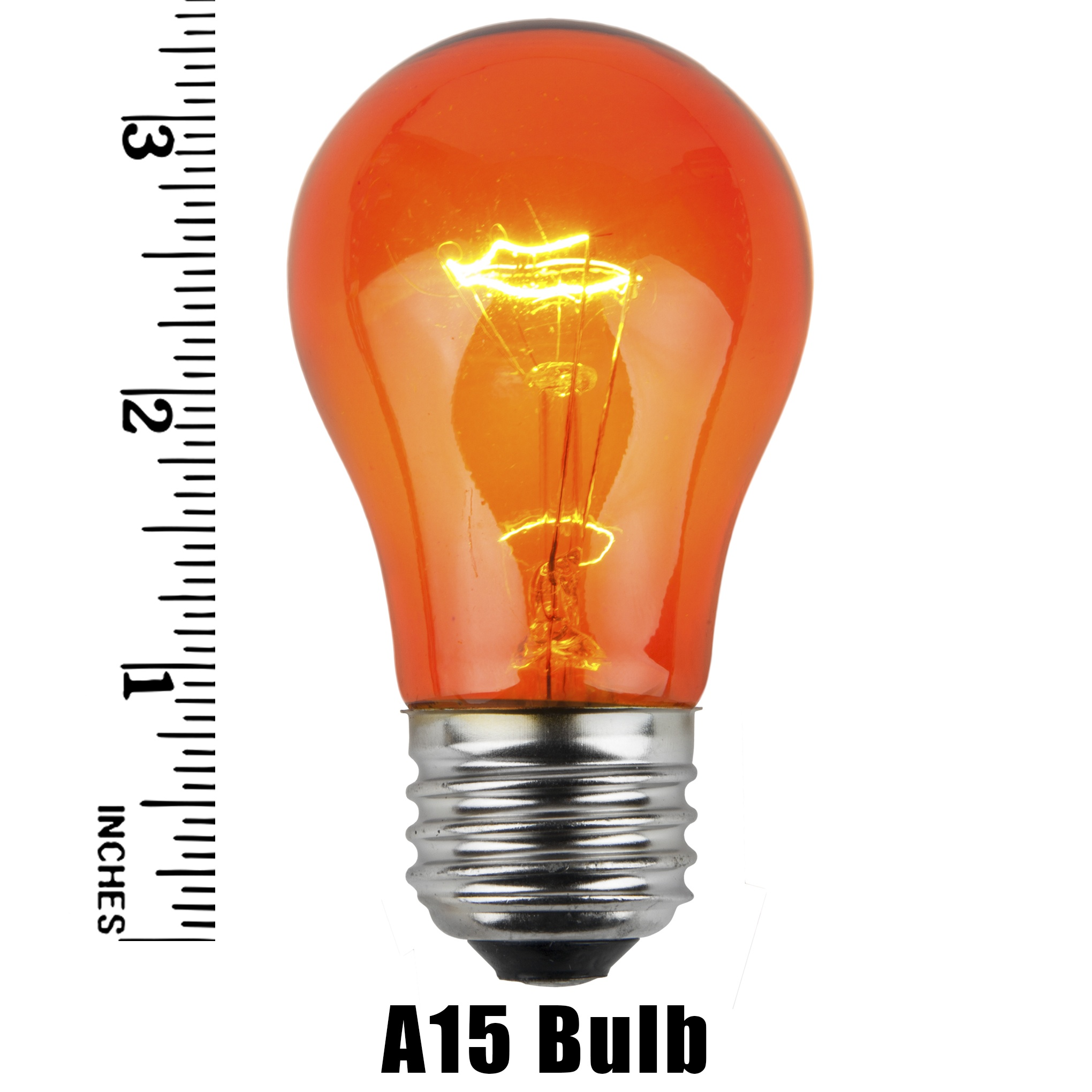 A15 Amber Transparent Incandescent Bulb Measurement