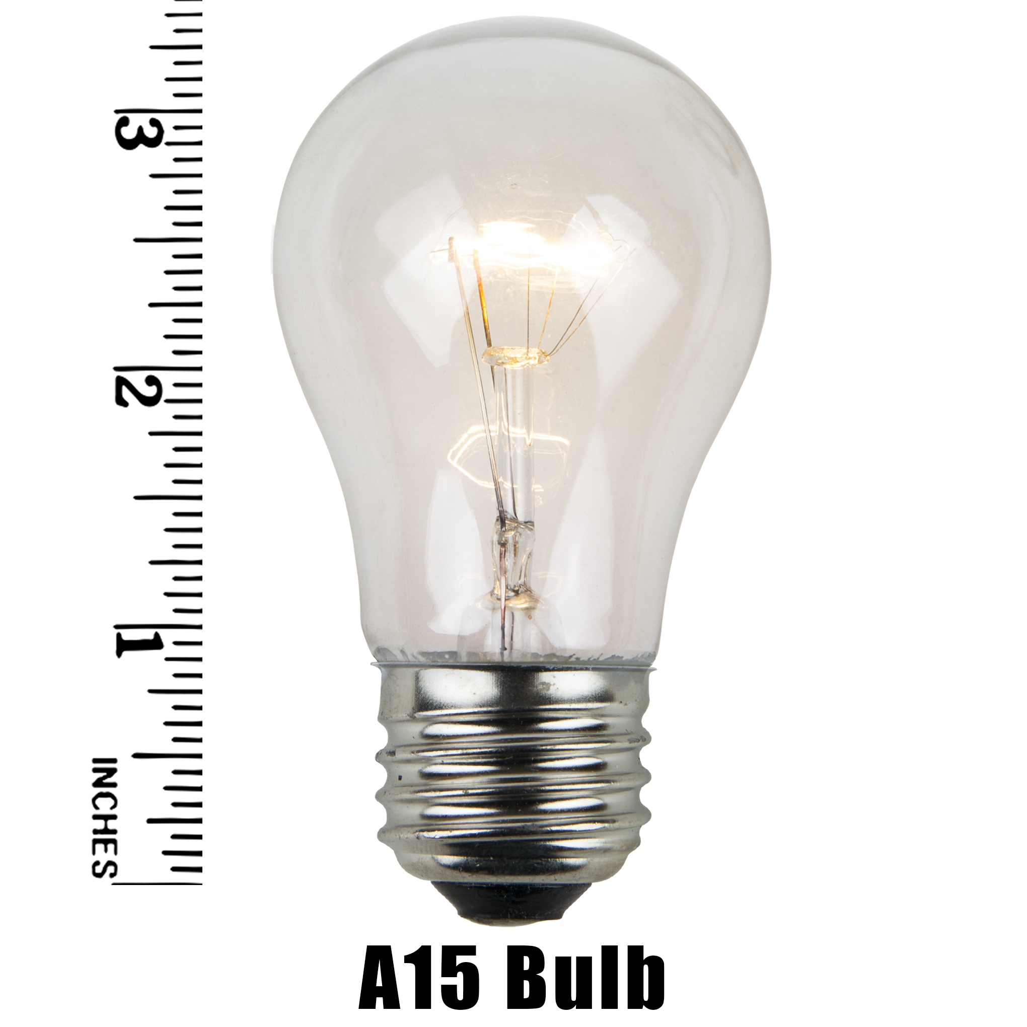 A15 Clear Transparent Incandescent Bulb Measurement