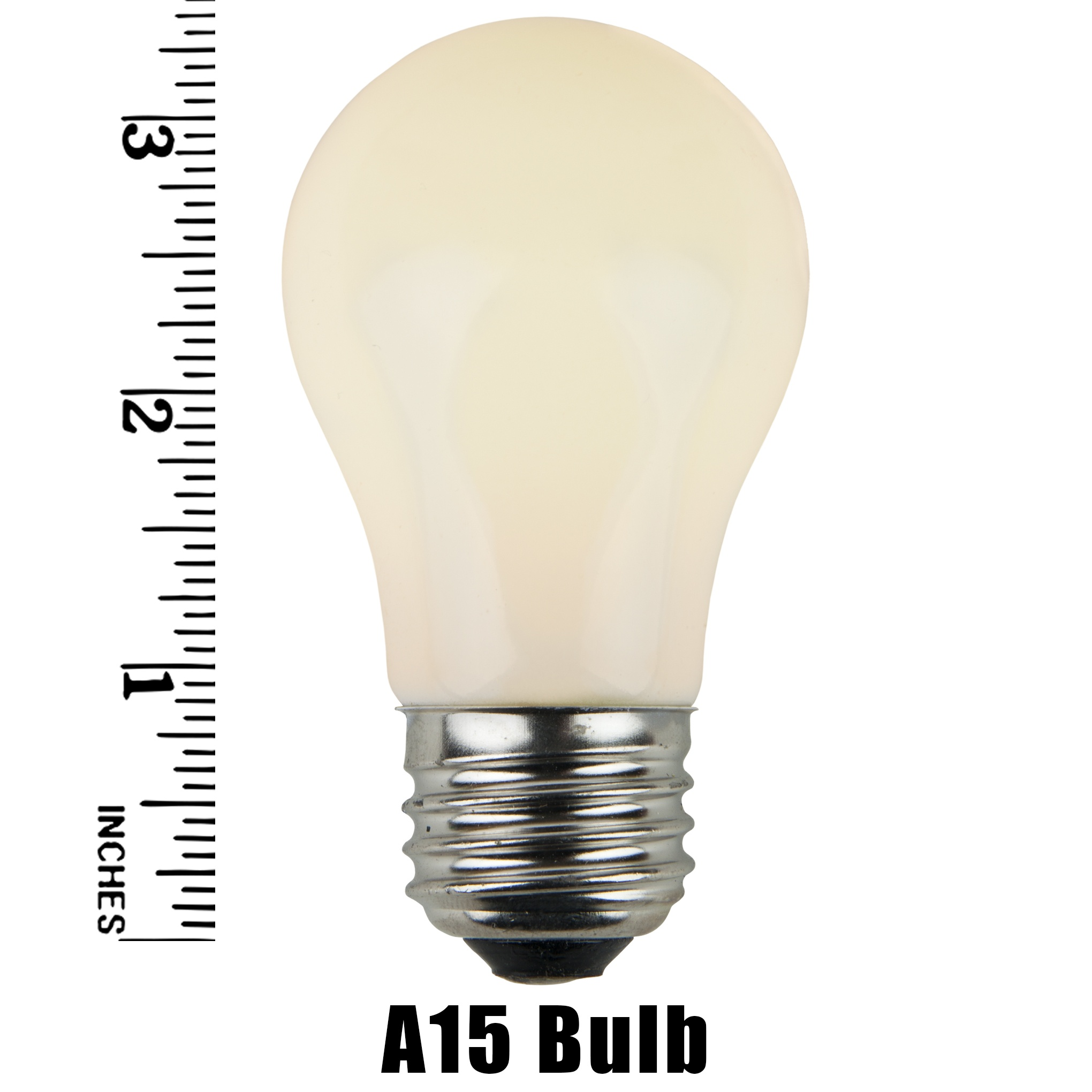 A15 White Opaque Incandescent Bulb Measurement