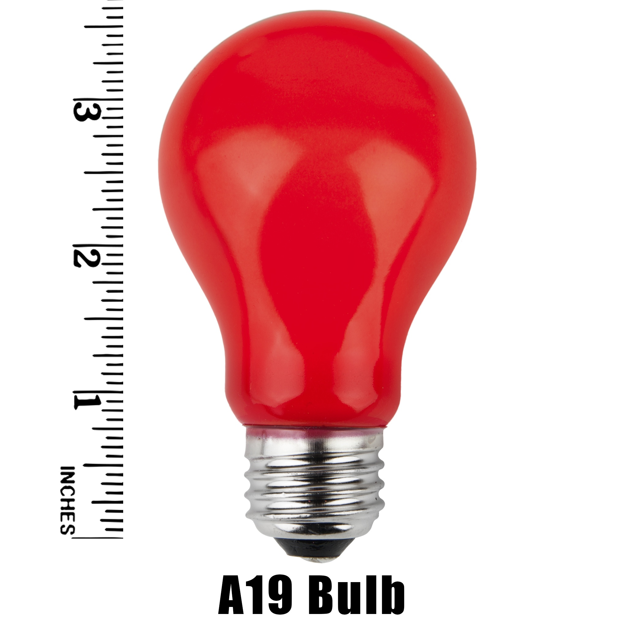 A19 Red Opaque Incandescent Bulb Measurement