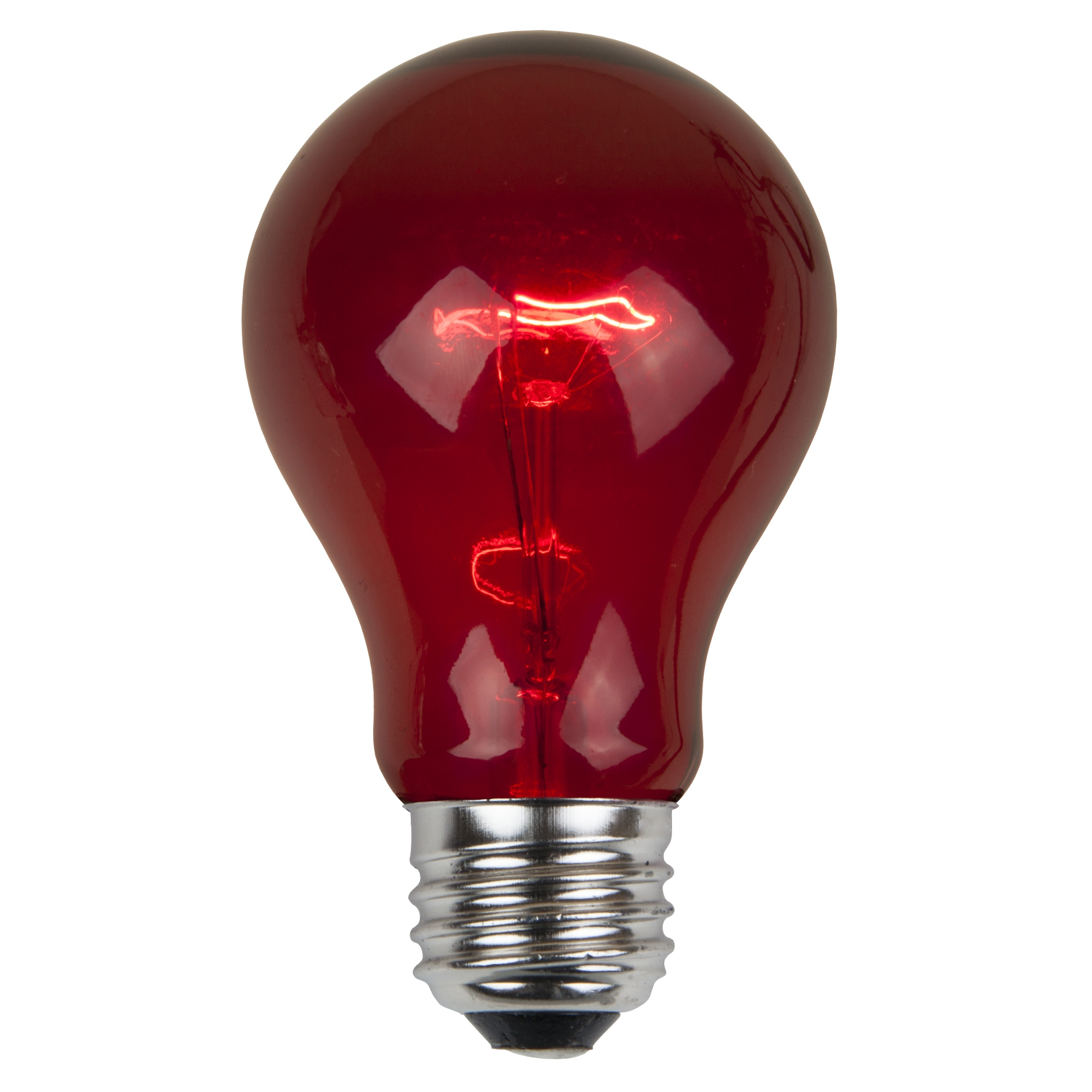 A19 Red Transparent Incandescent Bulb