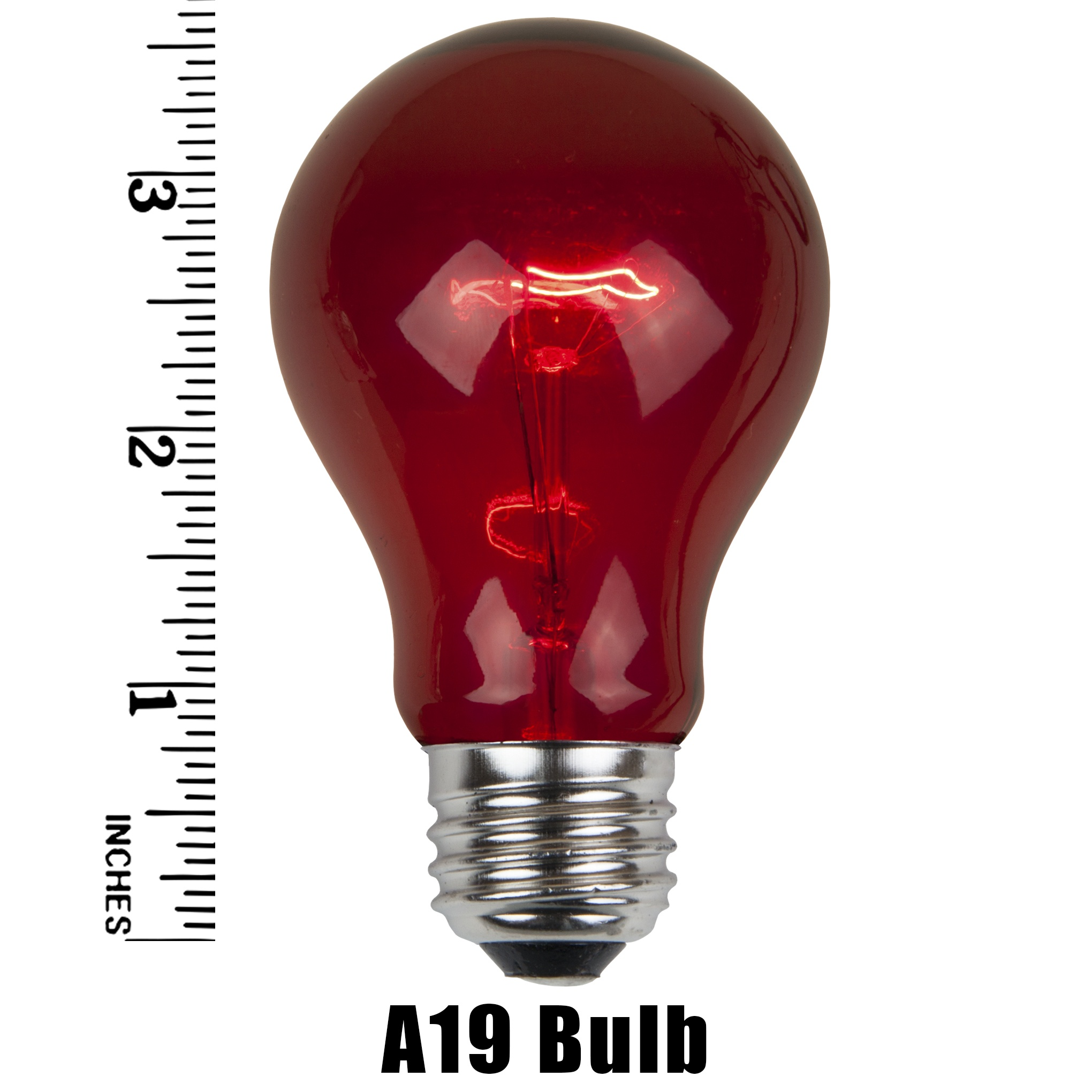 A19 Red Transparent Incandescent Bulb Measurement