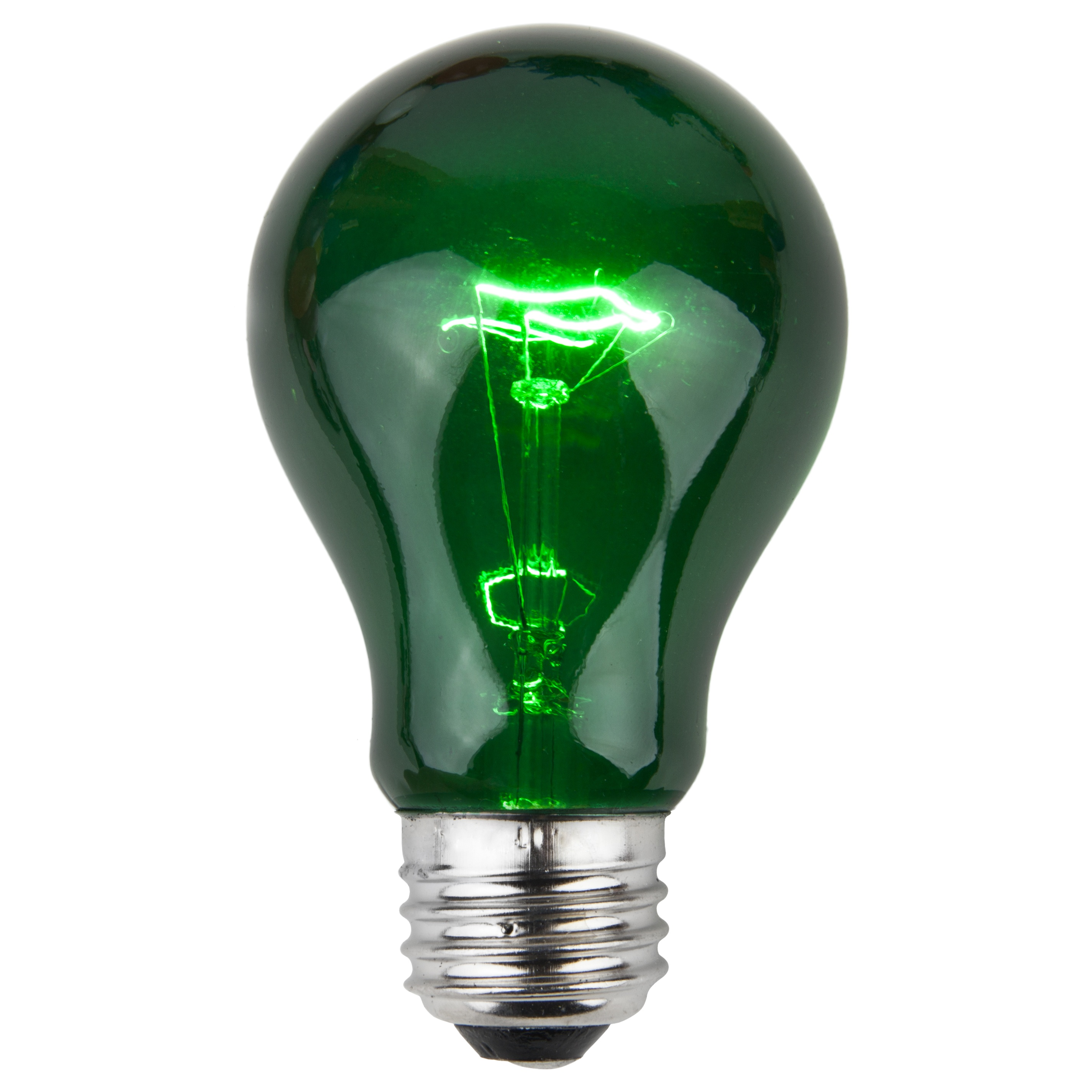 A19 Green Transparent Incandescent Bulb