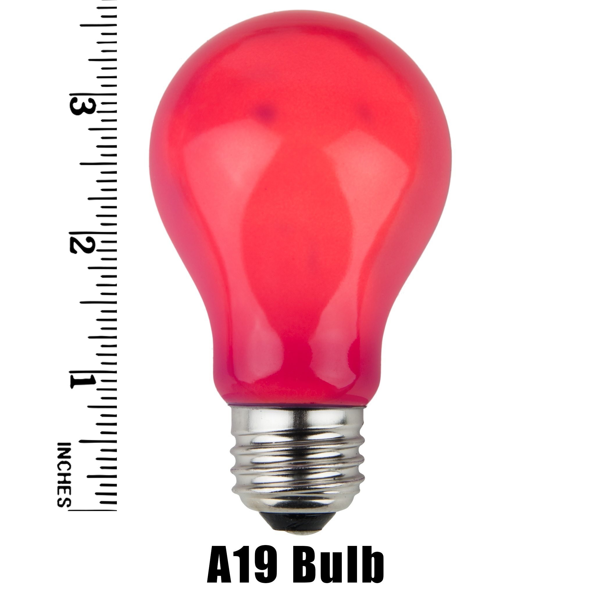A19 Pink Opaque Incandescent Bulb Measurement