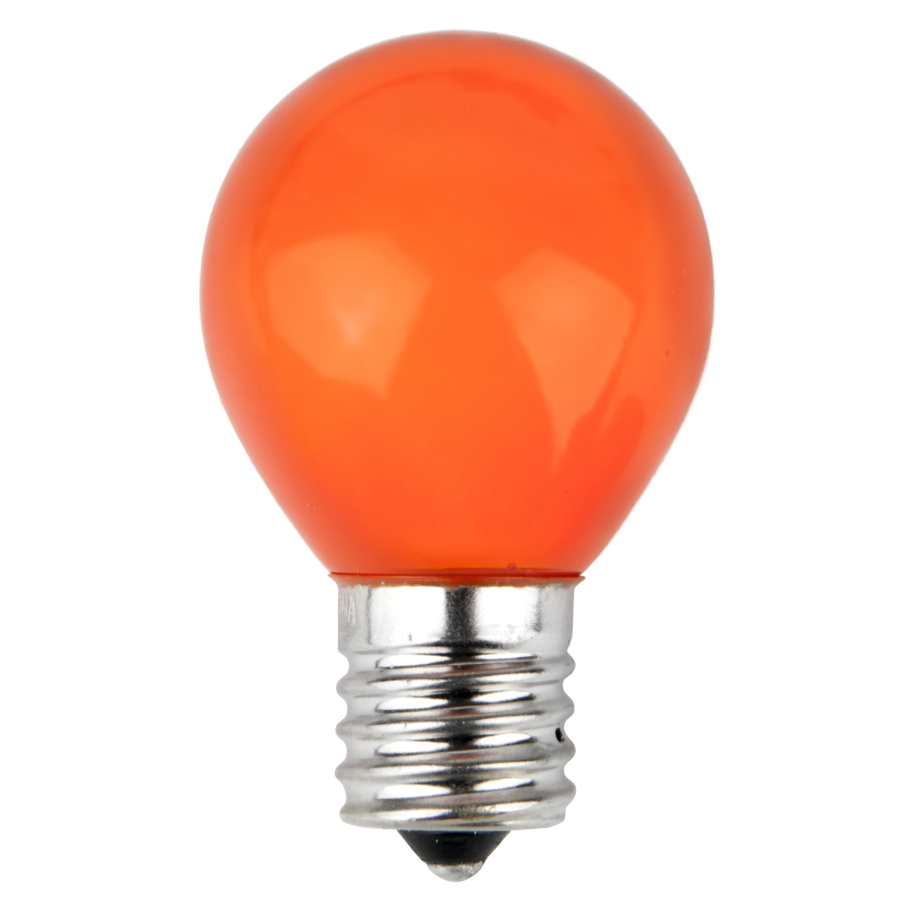 E17 Patio and Party Light Bulbs - S11 Opaque Orange, 10 Watt Replacement Bulbs