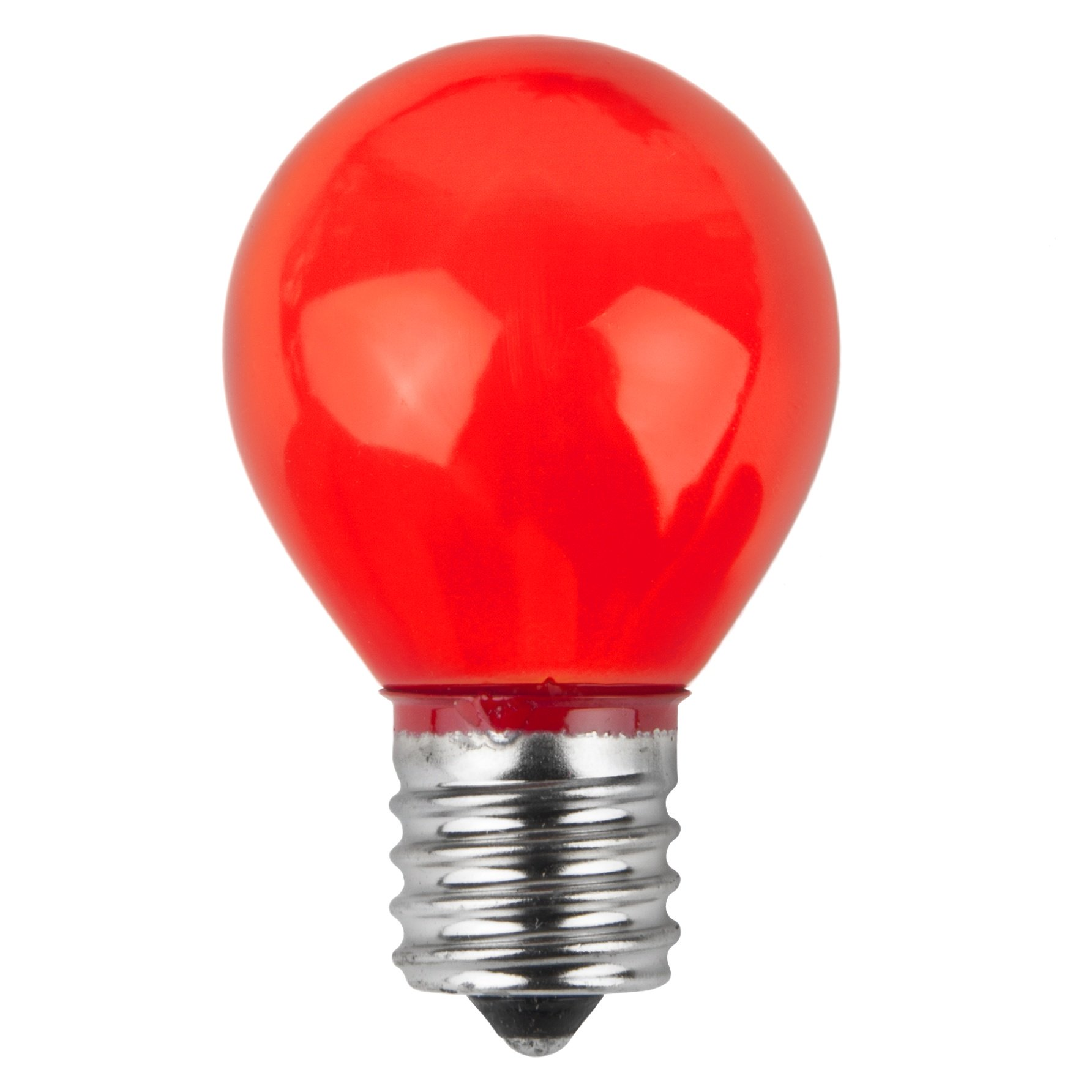 E17 Patio And Party Light Bulbs S11 Opaque Red 10 Watt Replacement Bulbs