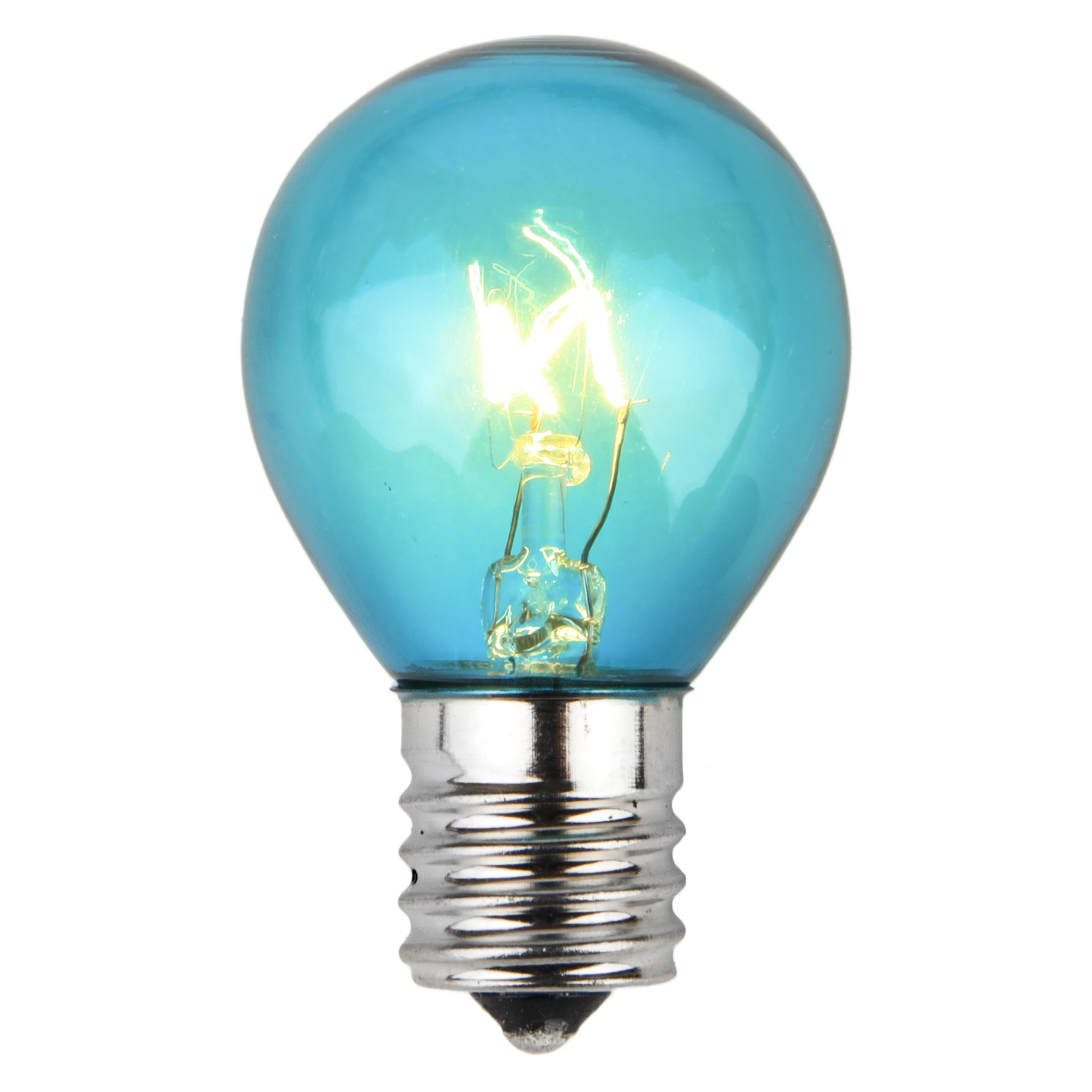 E17 Patio and Party Light Bulbs - S11 Triple Dipped Transparent Teal, 10 Watt Replacement Bulbs